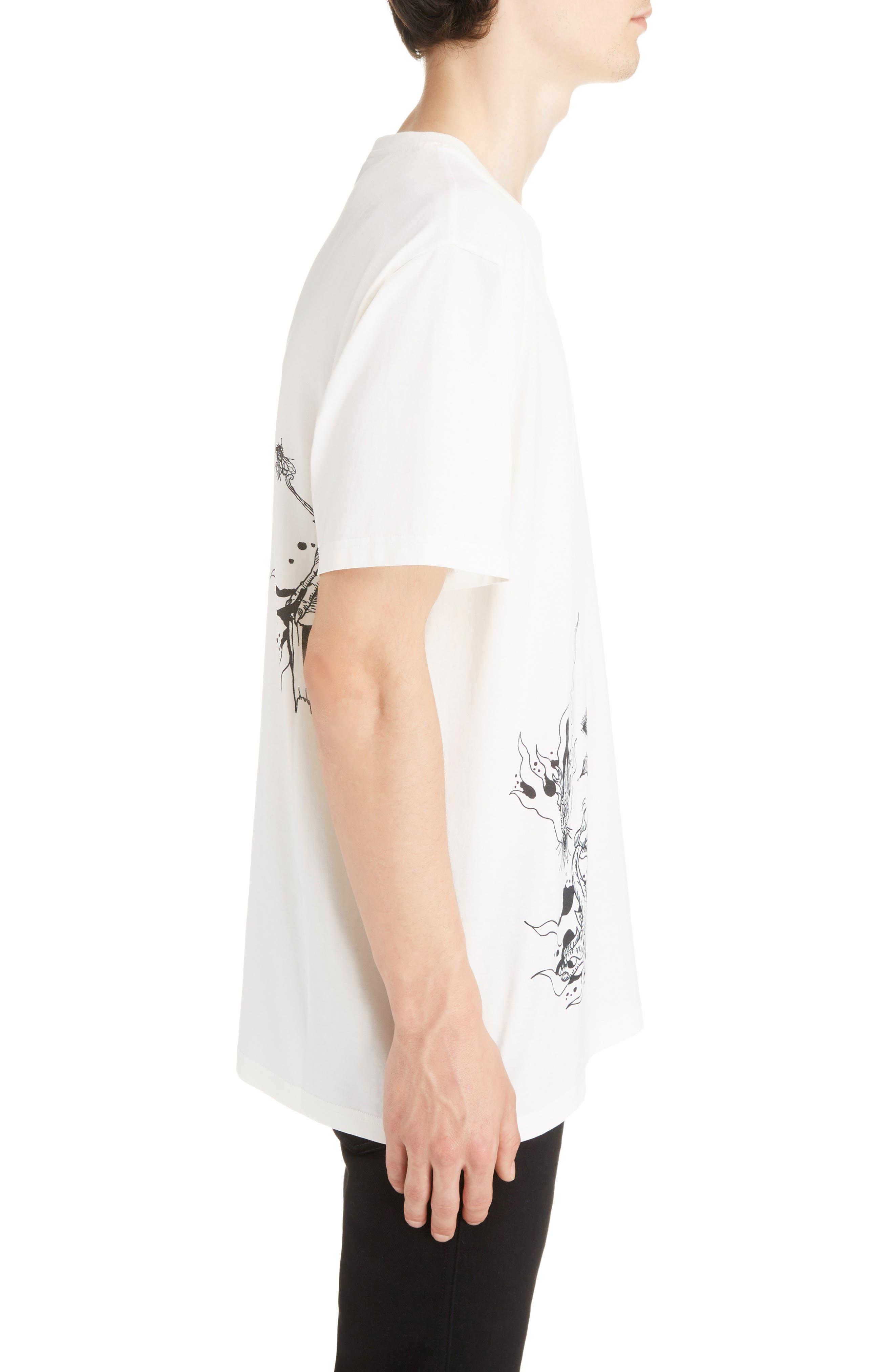 Dragon Print T-Shirt,                             Alternate thumbnail 3, color,                             OFF WHITE