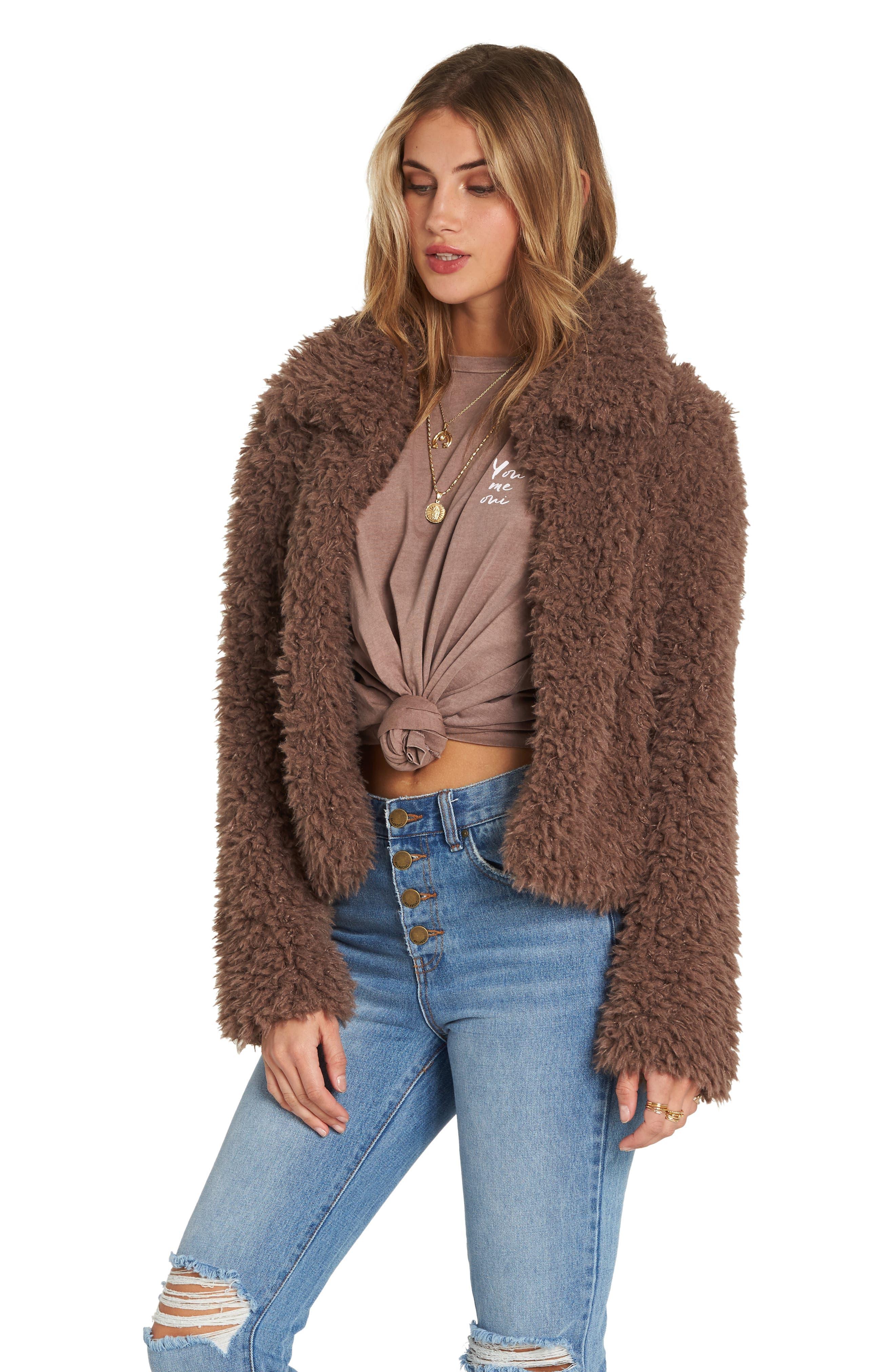 Fur Keeps Faux Fur Crop Jacket,                             Alternate thumbnail 4, color,                             COYOTE