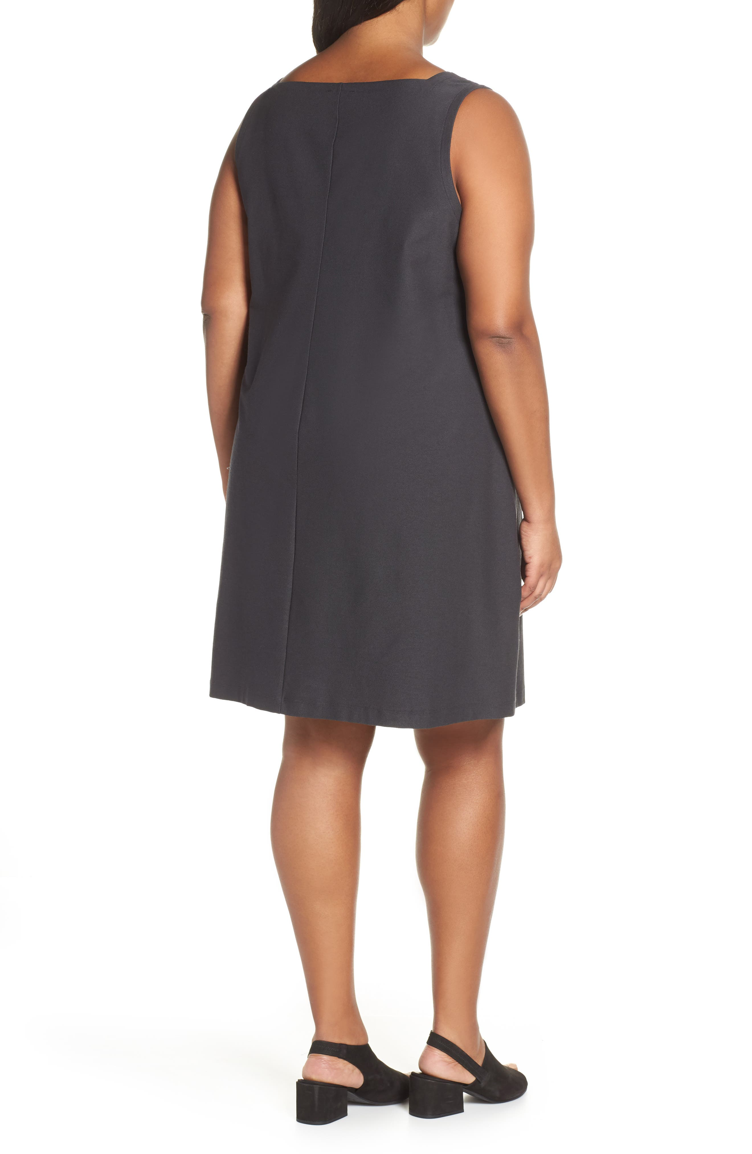 Plus Size Eileen Fisher Square Neck Shift Dress, Grey