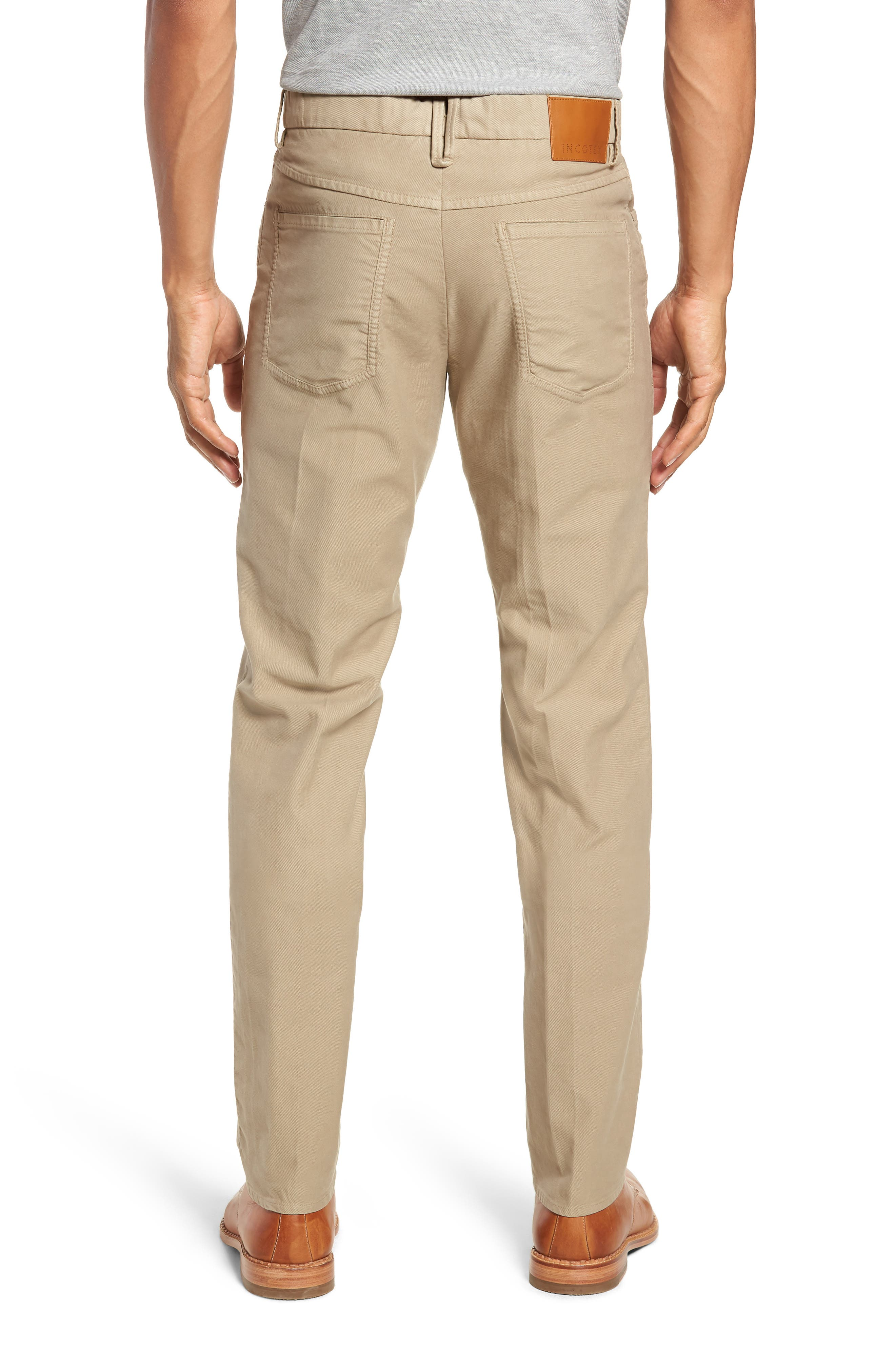 Five-Pocket Solid Stretch Cotton Trousers,                             Alternate thumbnail 2, color,                             STONE