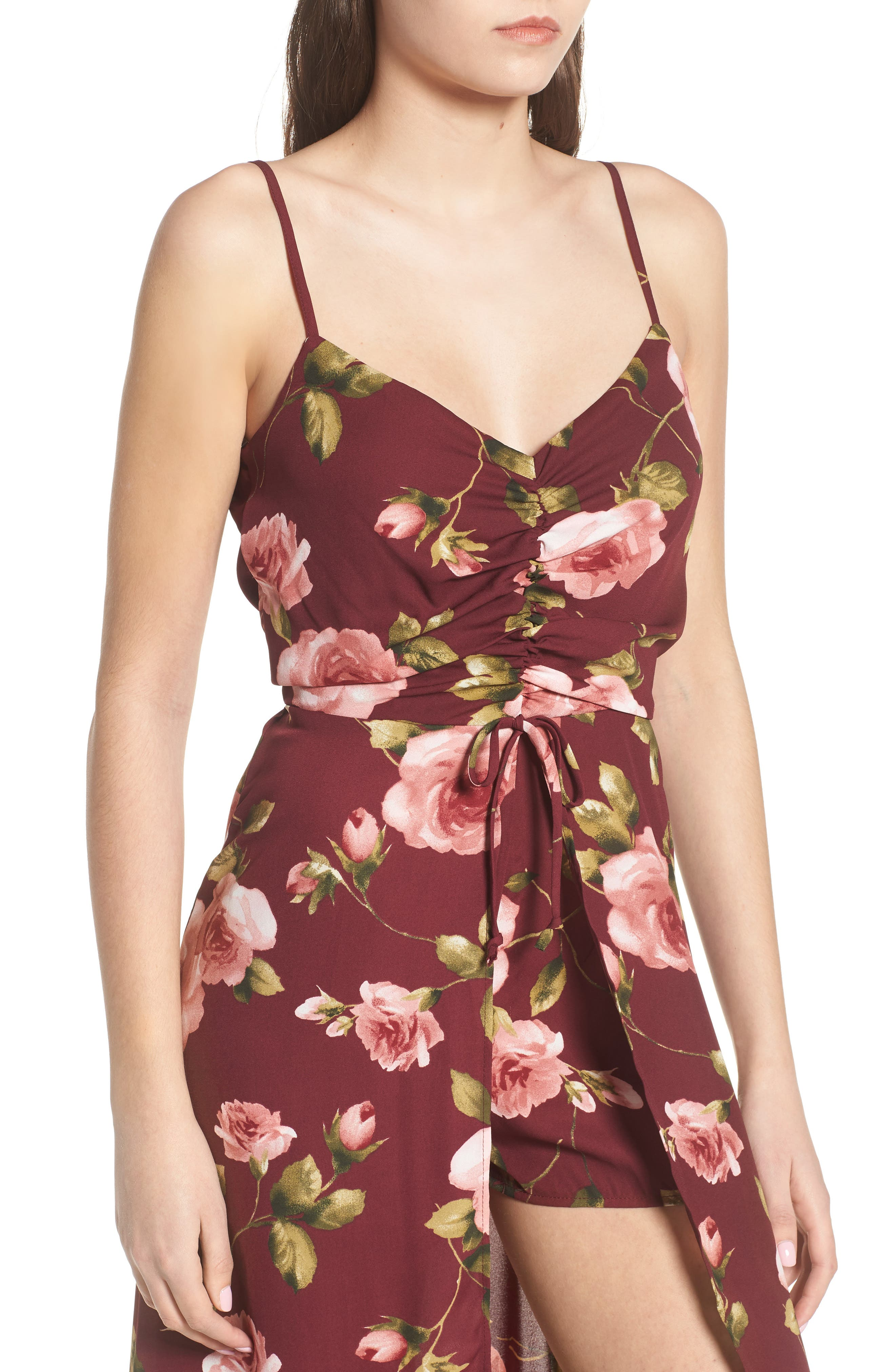 Floral Midi Romper,                             Alternate thumbnail 4, color,                             930
