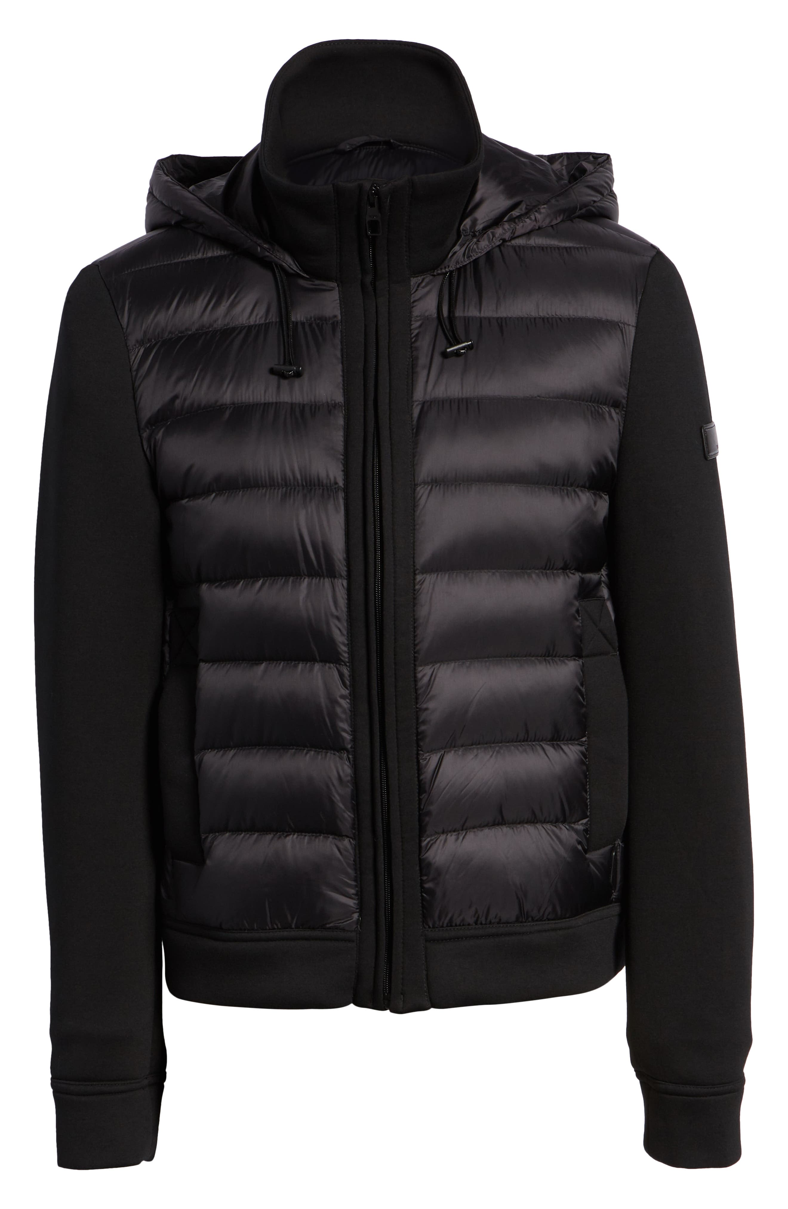Quilted Down and Neoprene Hooded Jacket,                             Alternate thumbnail 6, color,                             BLACK