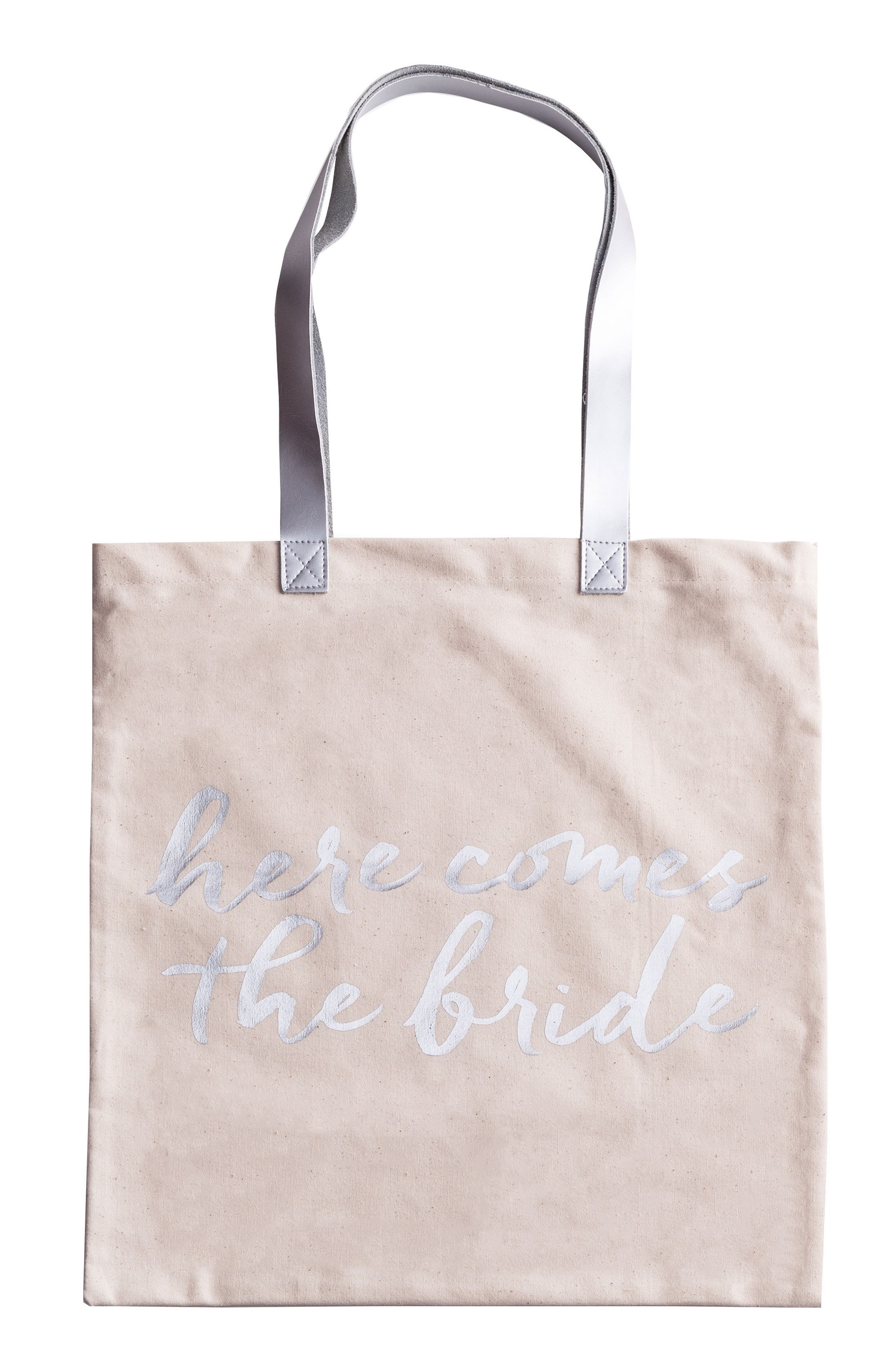 Here Comes The Bride Canvas Tote,                             Main thumbnail 1, color,