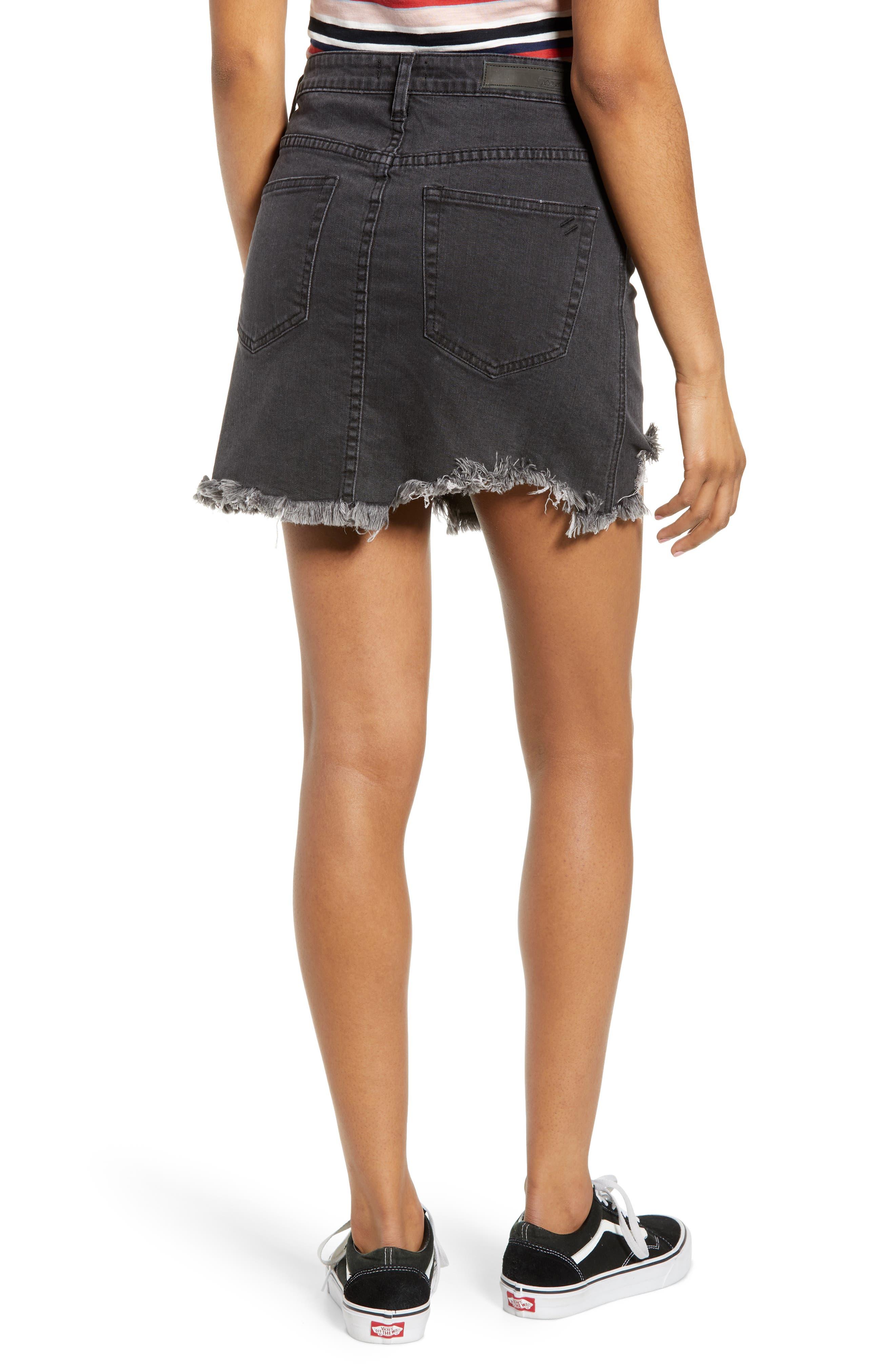 Cobra Ripped Denim Skirt,                             Alternate thumbnail 2, color,                             BLACK