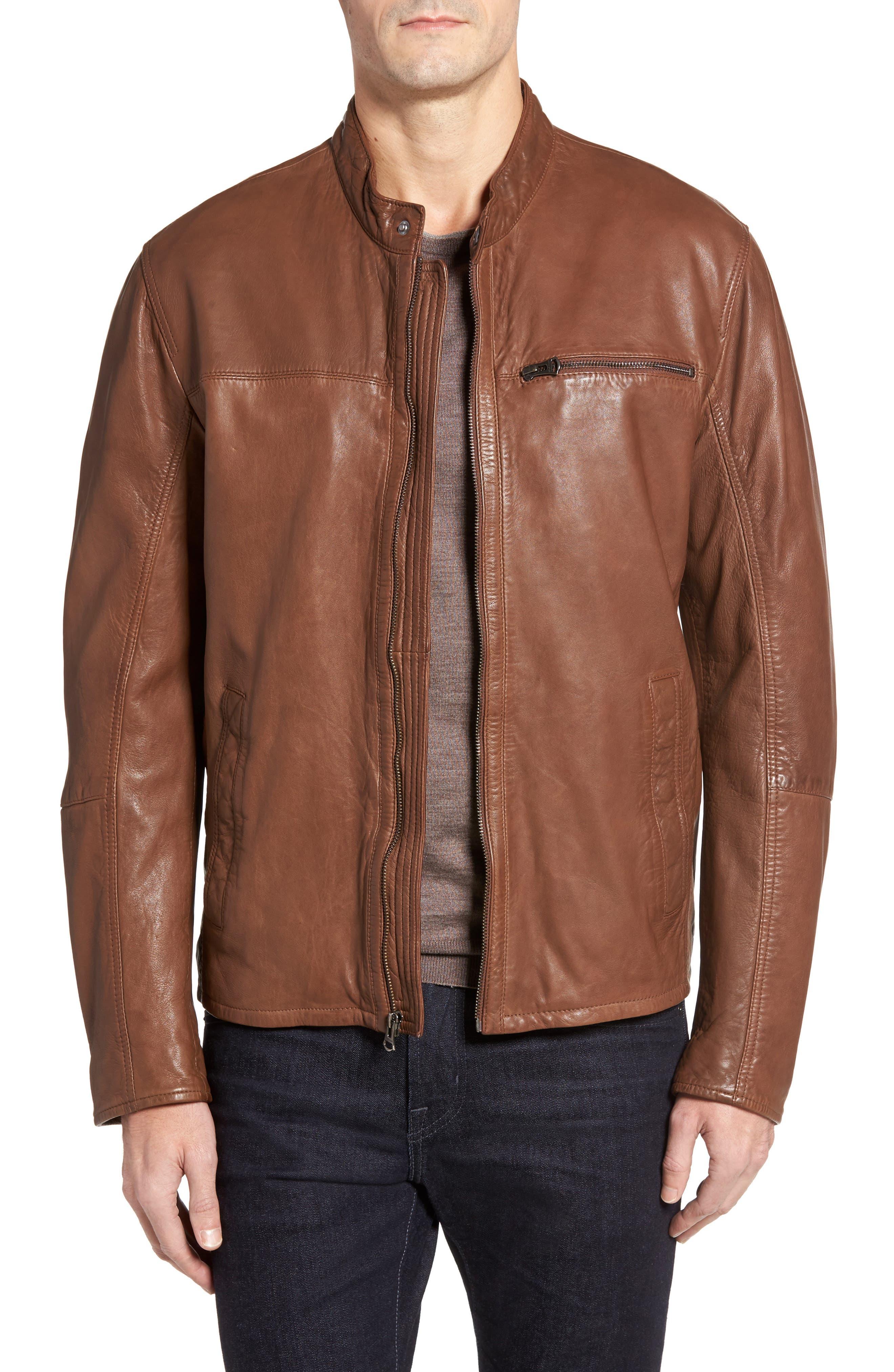 Washed Lamb Leather Moto Jacket,                         Main,                         color, 204