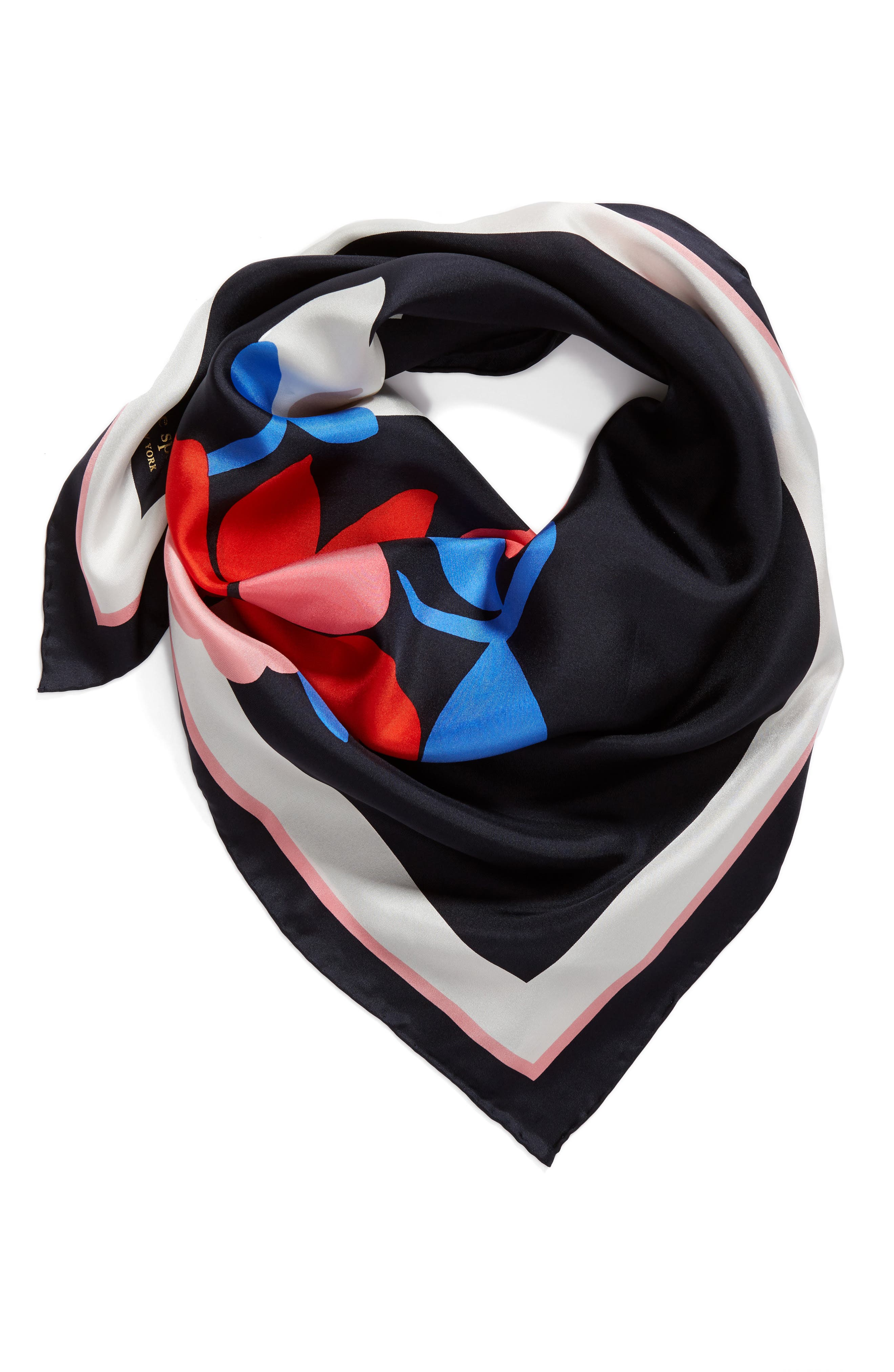 large daisy square silk scarf,                             Alternate thumbnail 2, color,