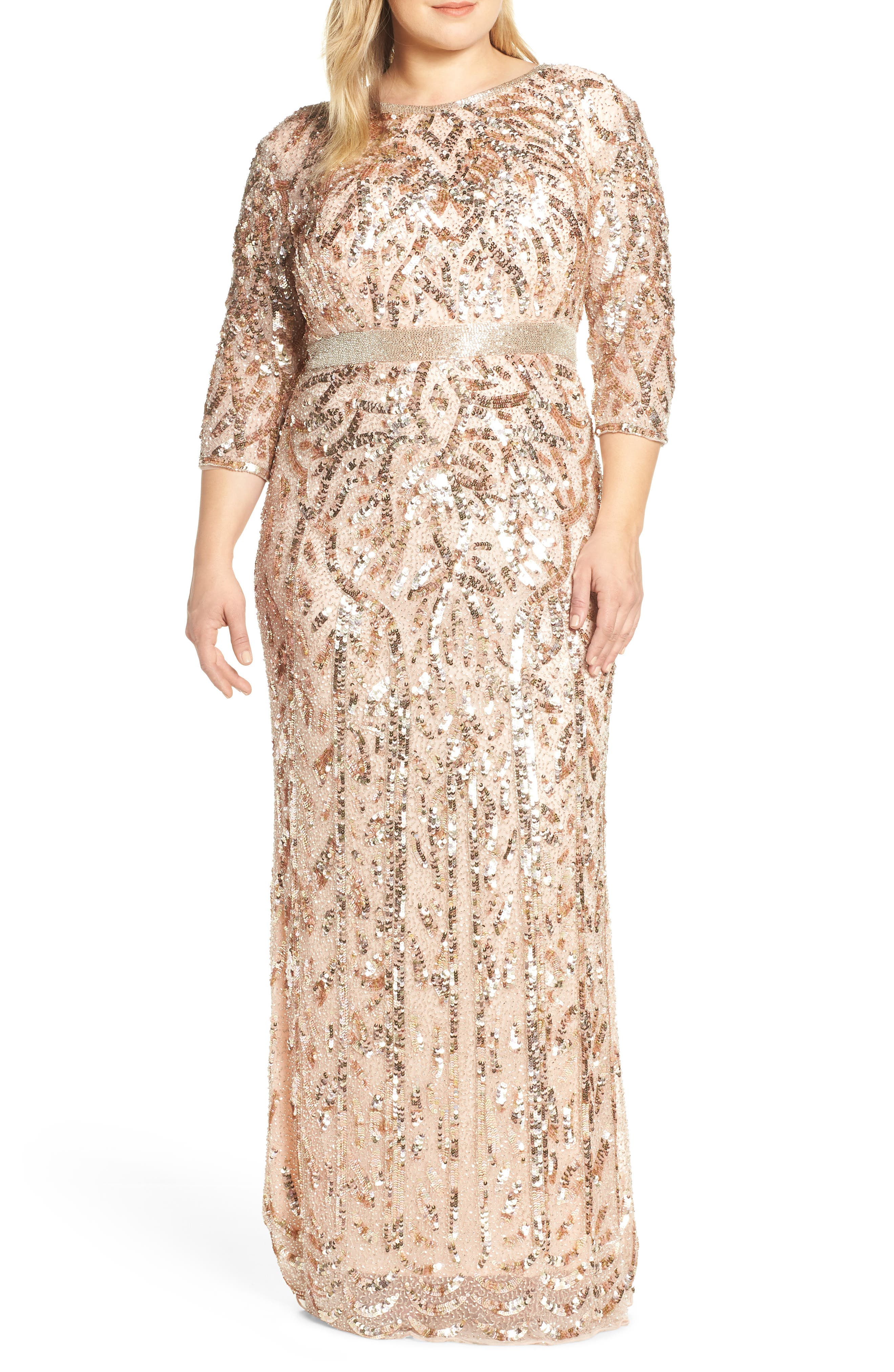 Plus Size MAC Duggal Beaded Evening Dress, Pink