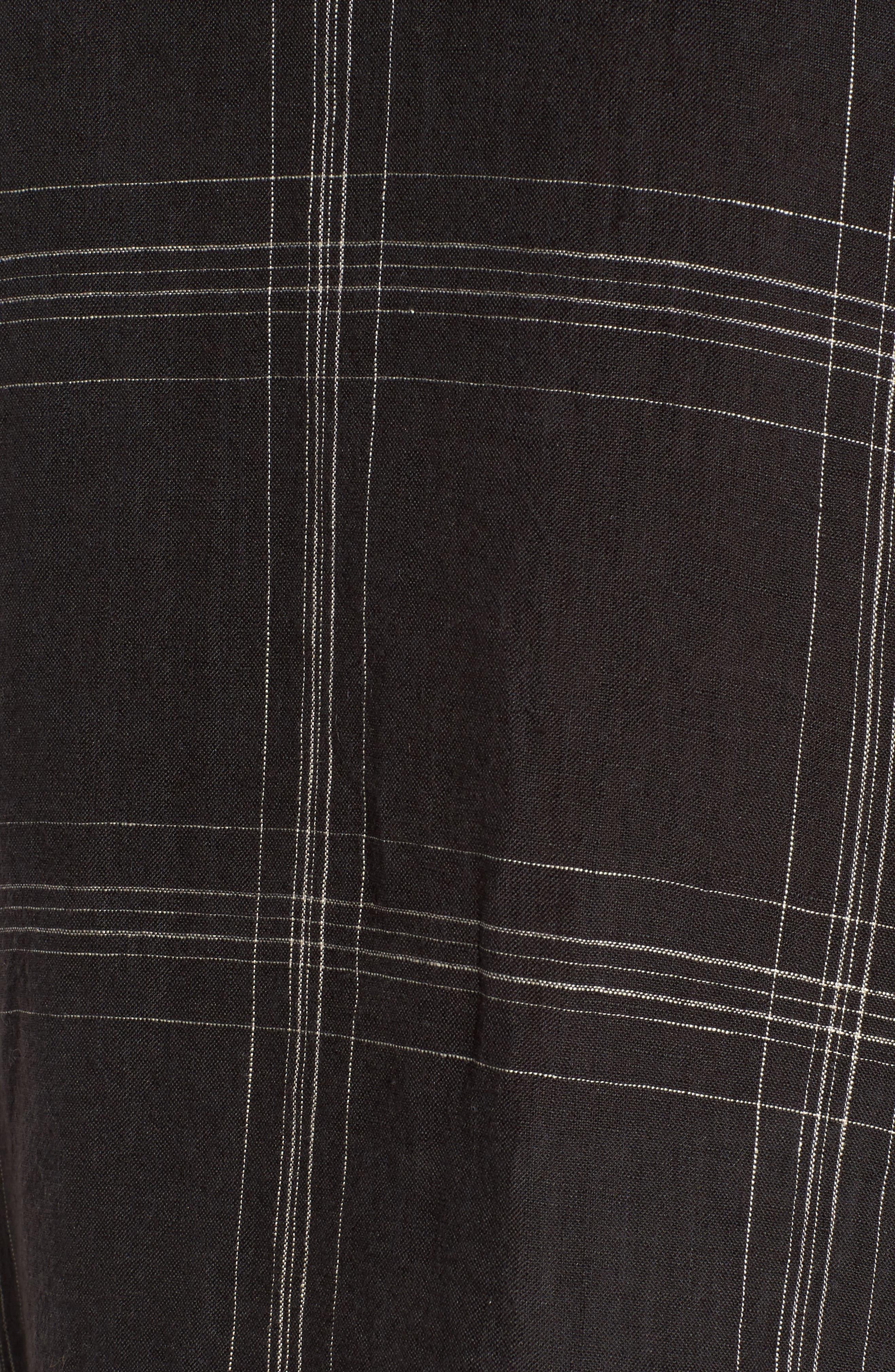 Plaid Organic Linen Tunic,                             Alternate thumbnail 5, color,                             001