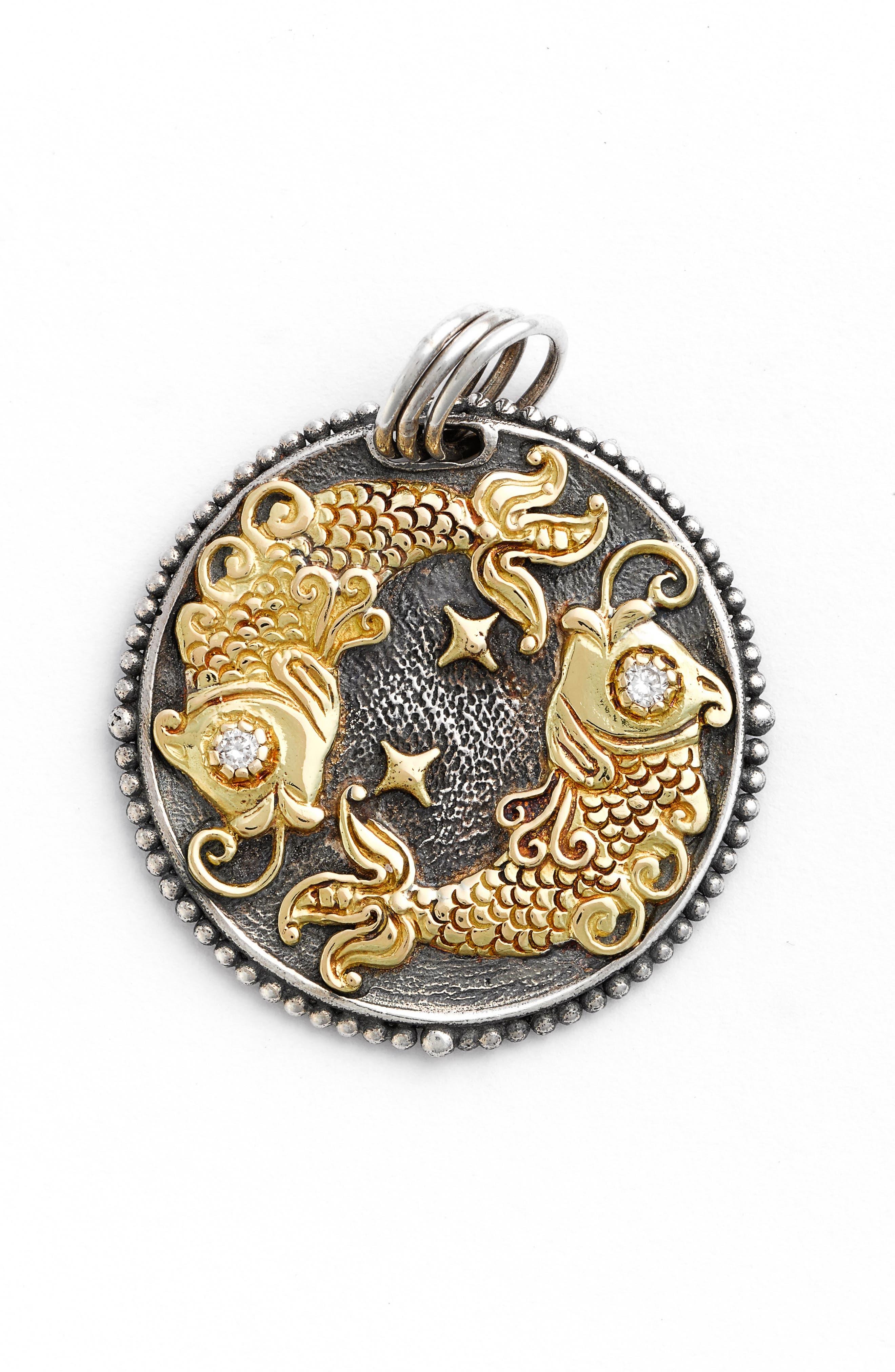Zodiac Pendant,                             Alternate thumbnail 2, color,                             PISCES/ SILVER/ GOLD