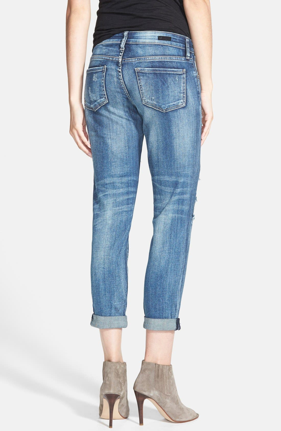 'Adele' Patch Detail Slouchy Boyfriend Jeans,                             Alternate thumbnail 3, color,                             400