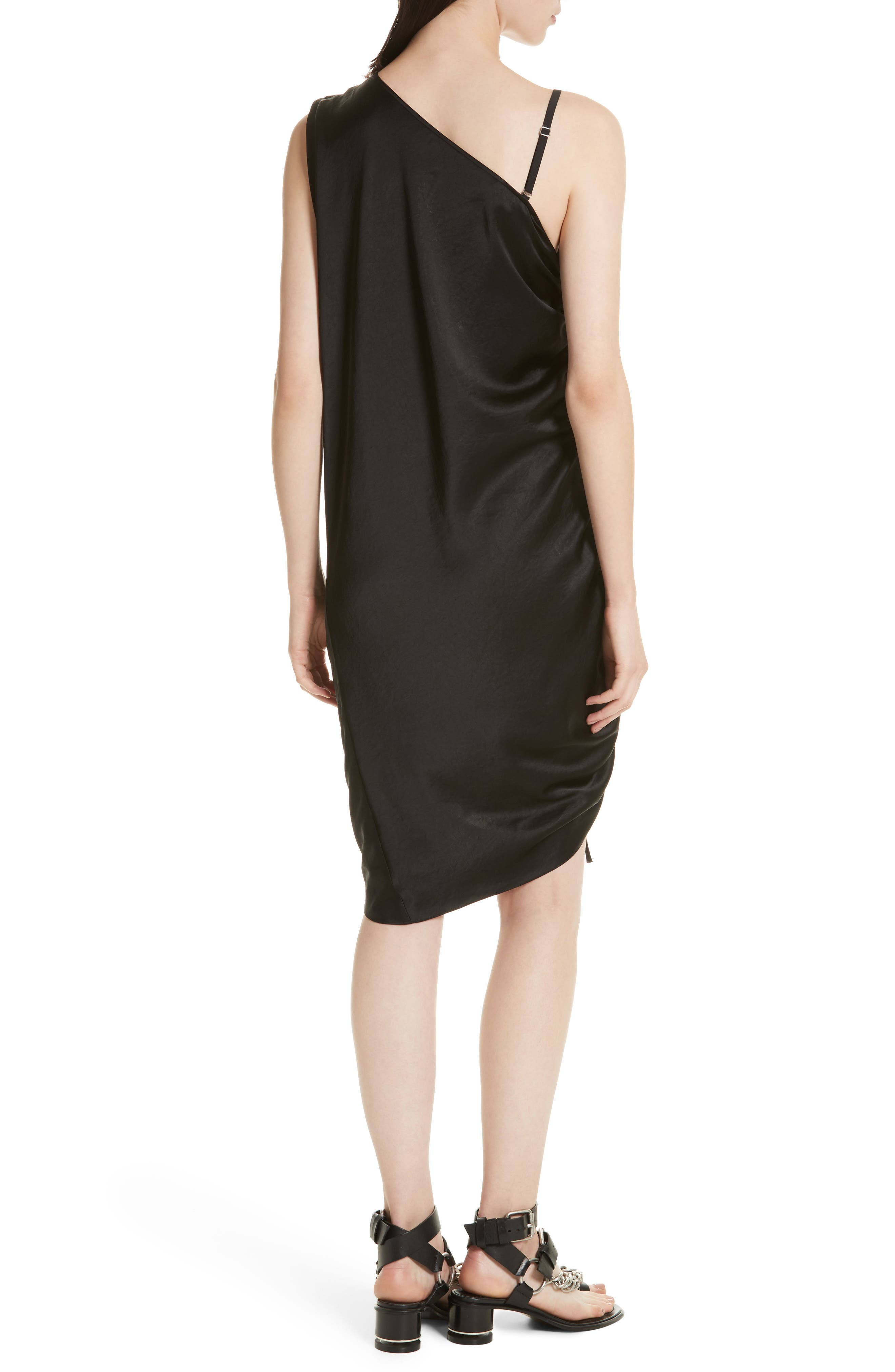 T by Alexander Wang Ruched Asymmetrical Dress,                             Alternate thumbnail 2, color,                             001