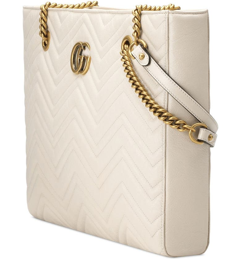 fe14b9704cea GUCCI GG MARMONT 2.0 MATELASSE MEDIUM LEATHER EAST/WEST TOTE BAG - WHITE