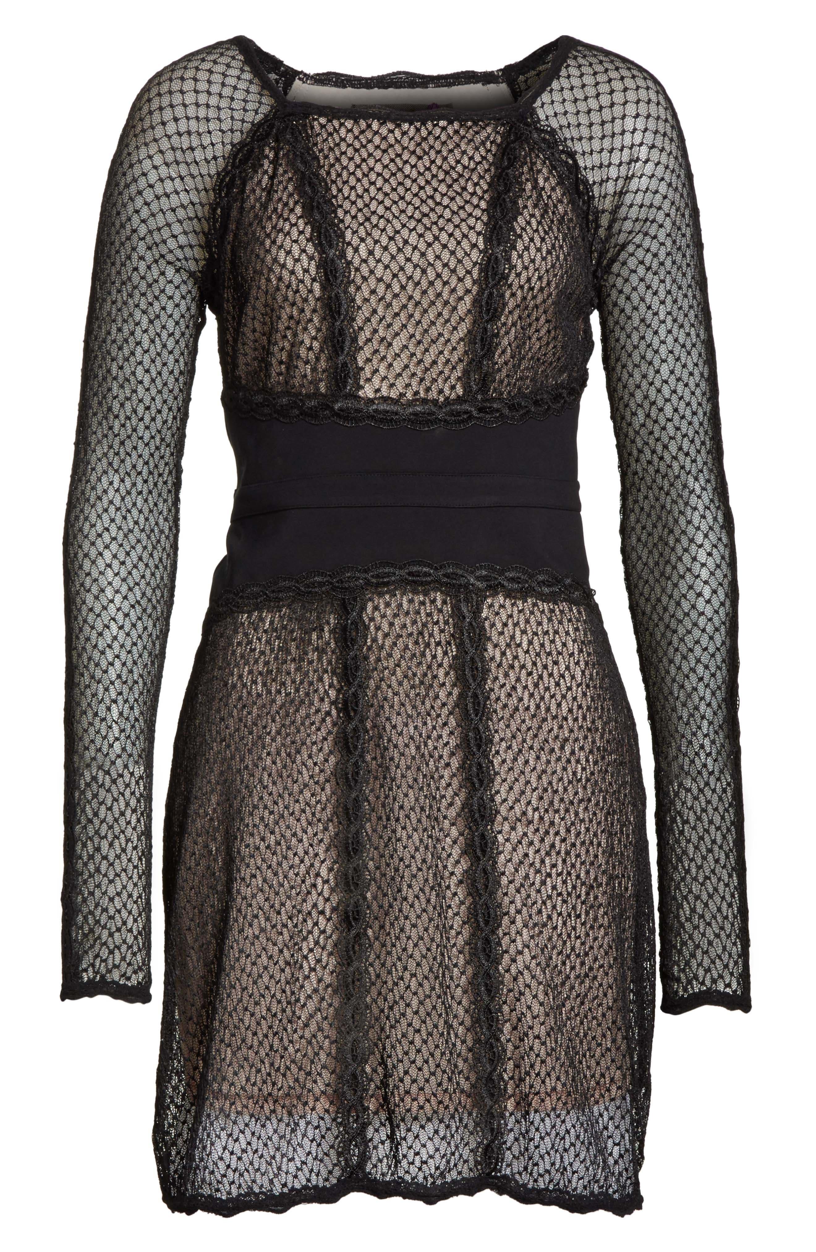 Lace & Mesh Body-Con Dress,                             Alternate thumbnail 6, color,                             001