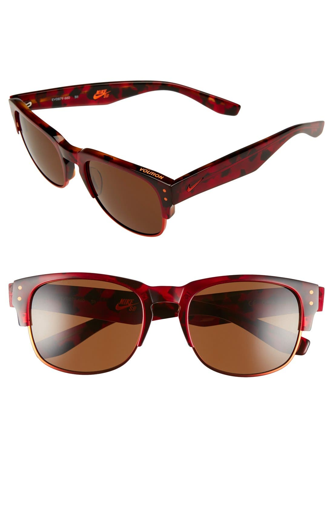 Volition 54mm Sunglasses,                             Main thumbnail 1, color,                             RED TORTOISE