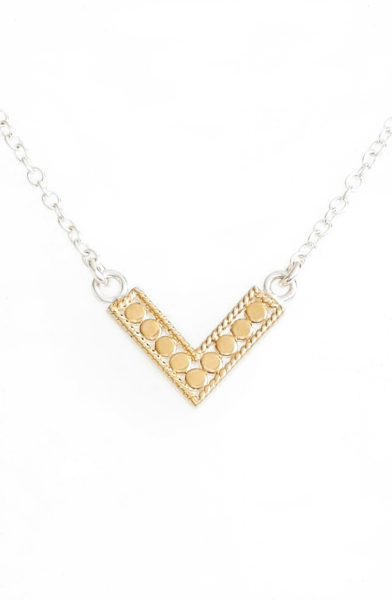 Reversible Mini V-Pendant Necklace,                             Main thumbnail 1, color,