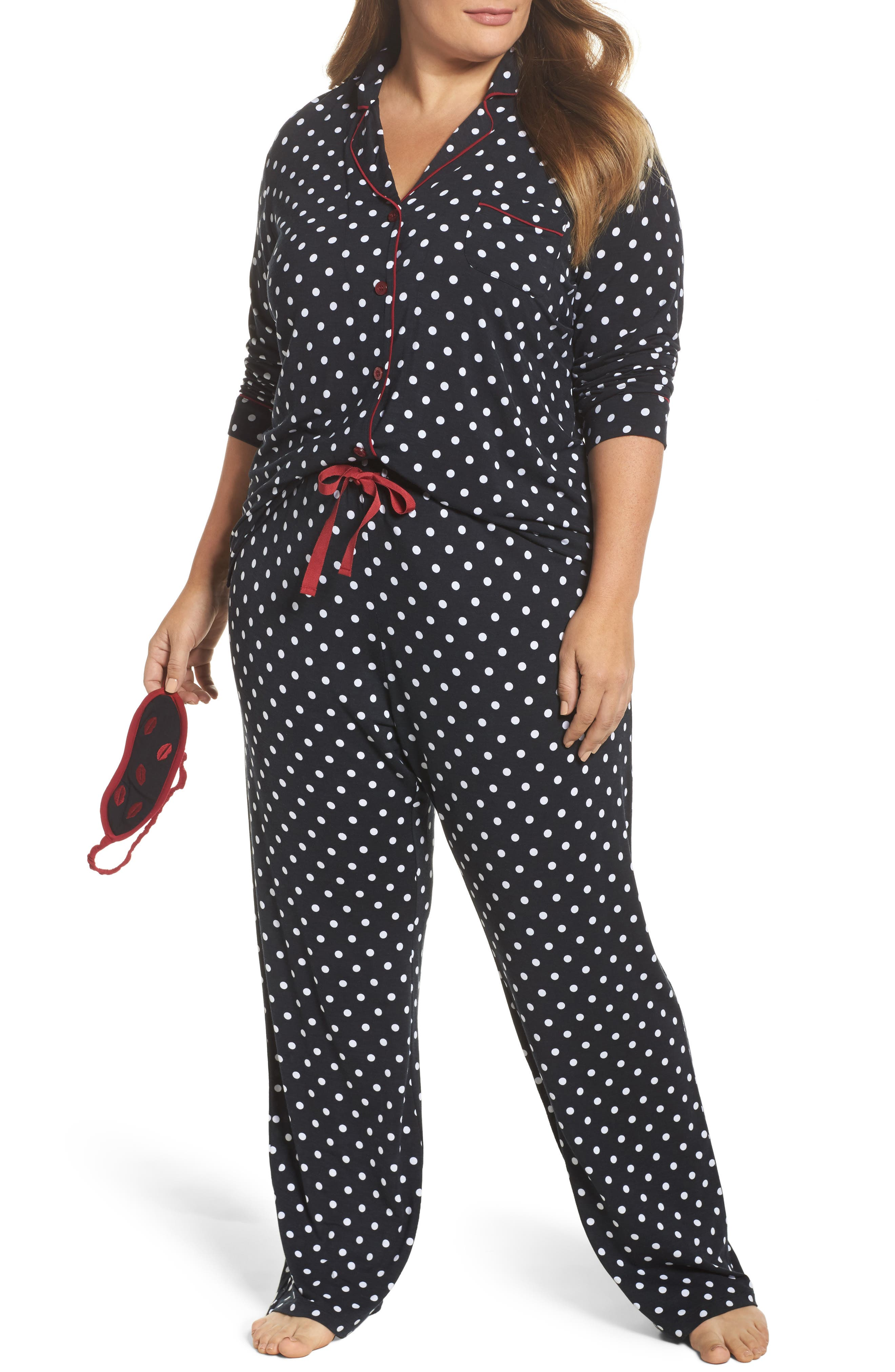 Stretch Modal Pajamas & Eye Mask,                             Main thumbnail 1, color,                             001
