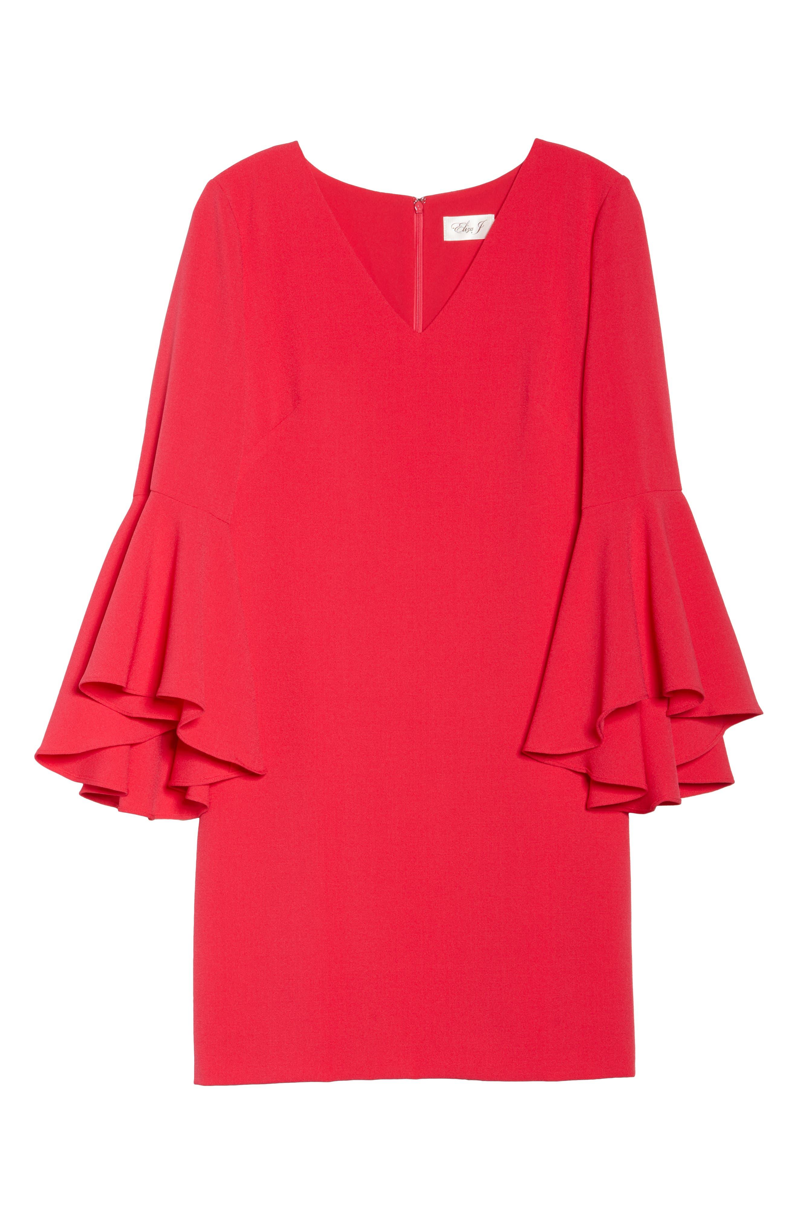 Bell Sleeve Crepe Shift Dress,                             Alternate thumbnail 24, color,