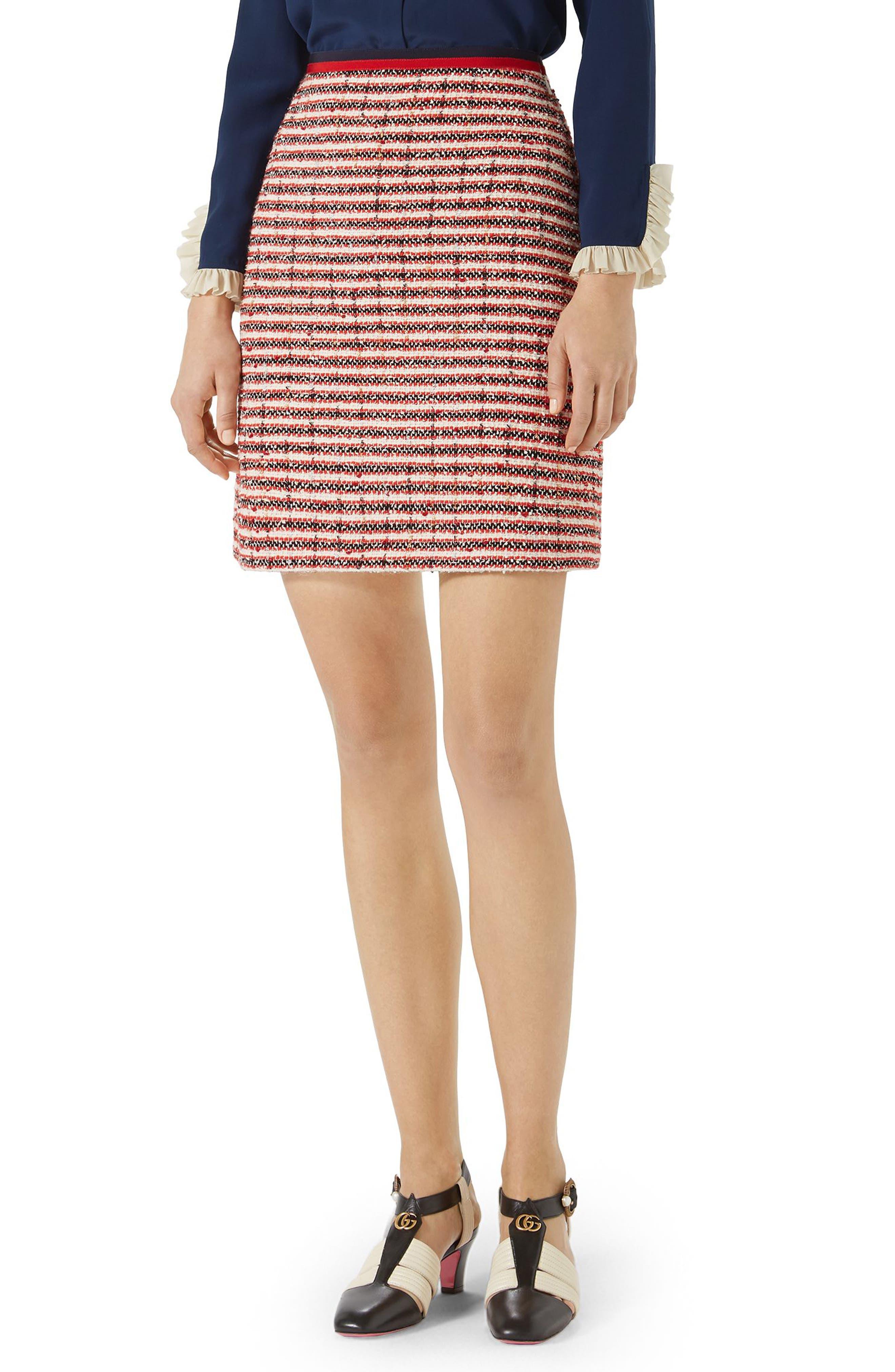 Stripe Tweed A-Line Skirt,                             Main thumbnail 1, color,                             GARDENIA-HIBISCUS RED STRIPE