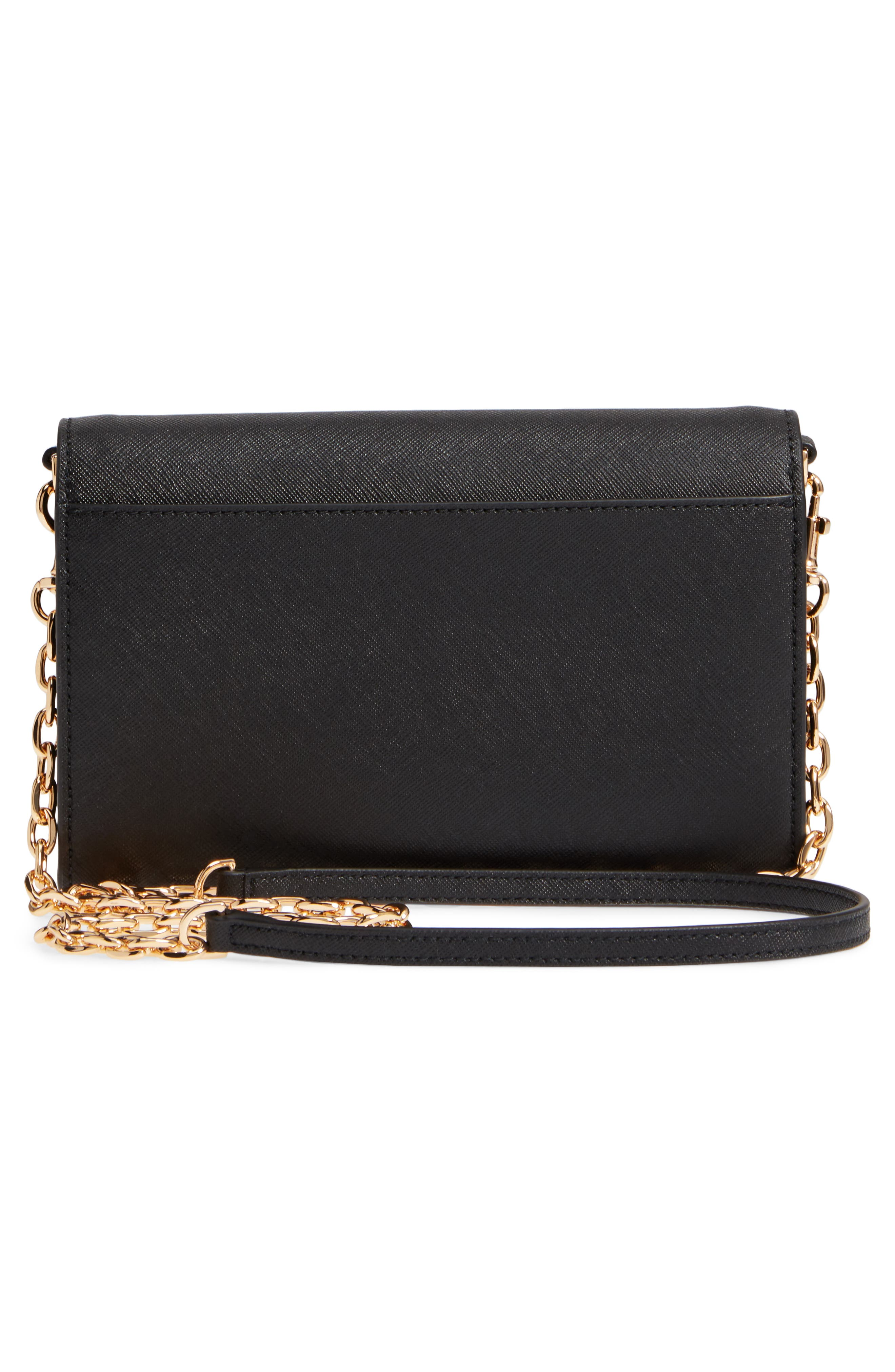 Robinson Leather Wallet on a Chain,                             Alternate thumbnail 3, color,                             BLACK / ROYAL NAVY