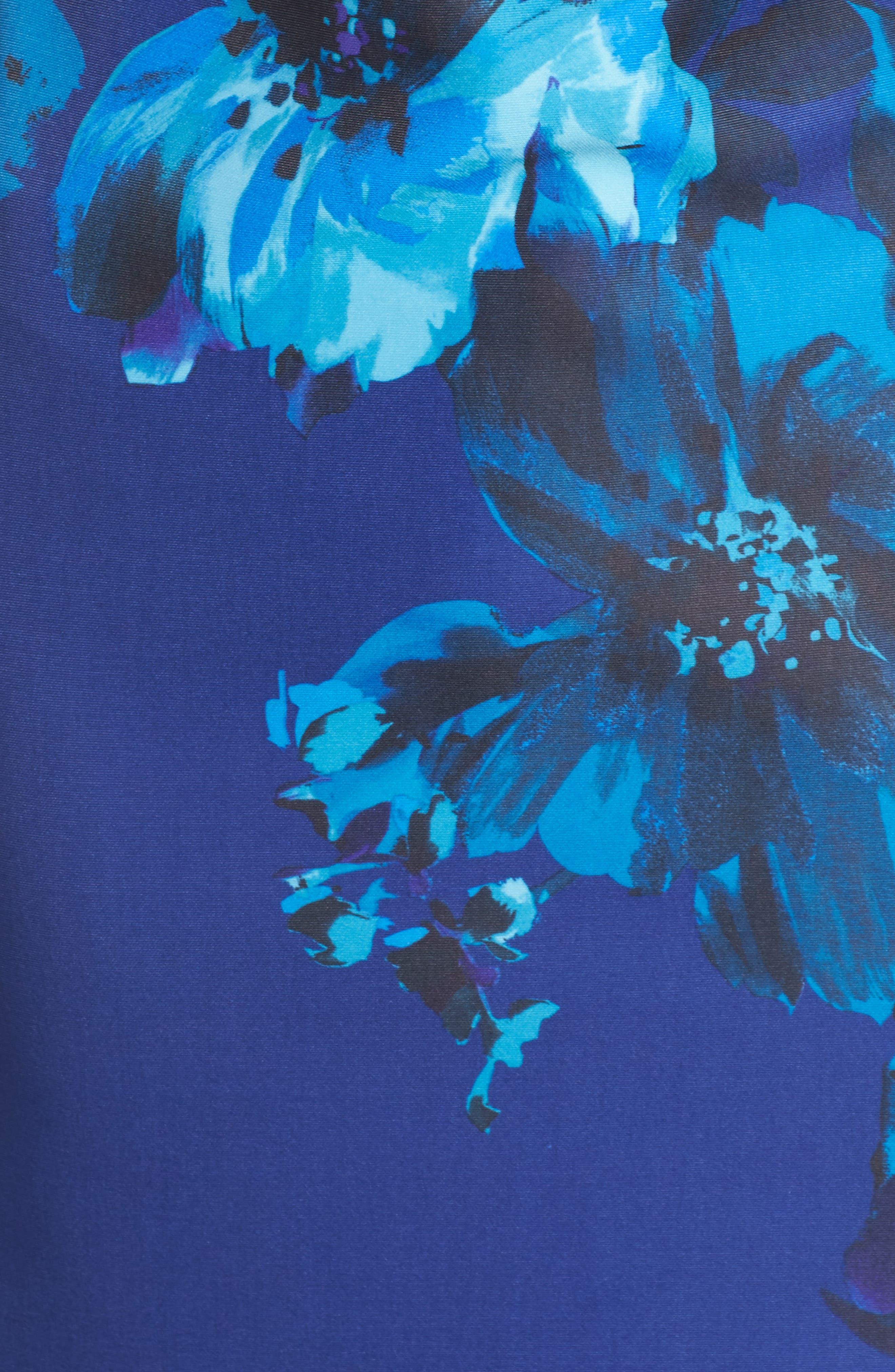 Floral Print Scuba Sheath Dress,                             Alternate thumbnail 5, color,                             453