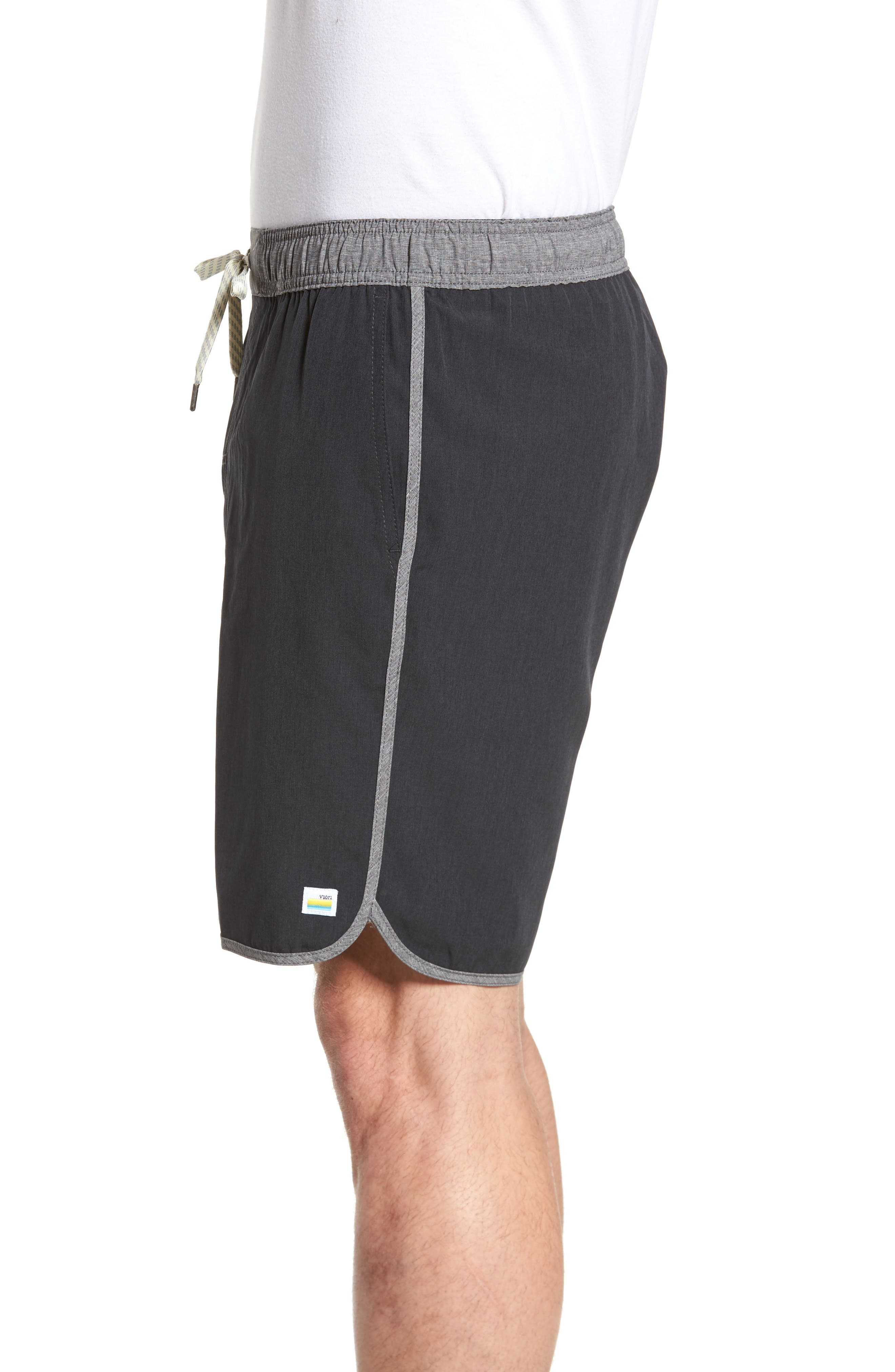 Banks Performance Hybrid Shorts,                             Alternate thumbnail 3, color,                             BLACK LINEN TEXTURE