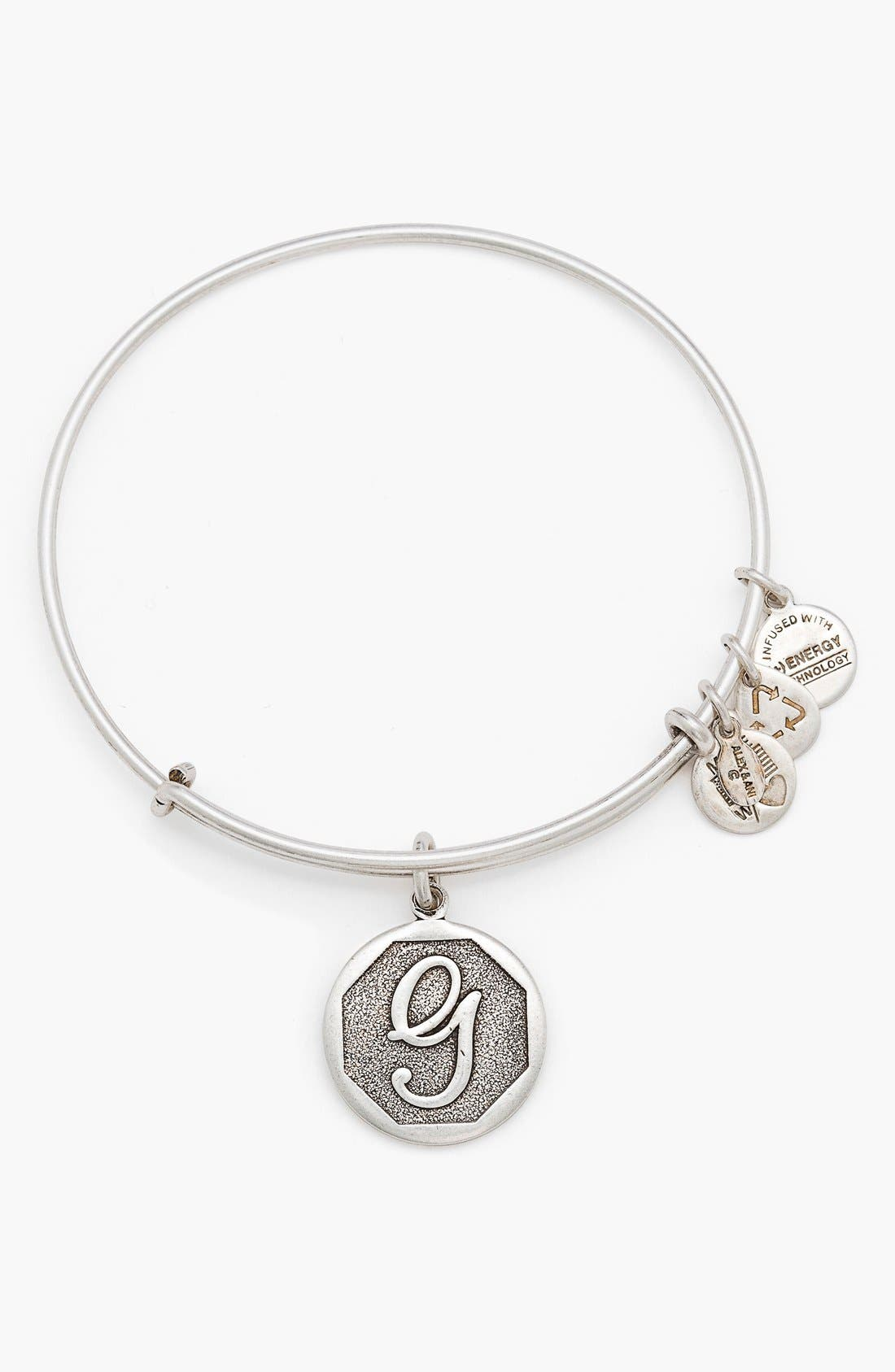 'Initial' Adjustable Wire Bangle,                             Main thumbnail 8, color,