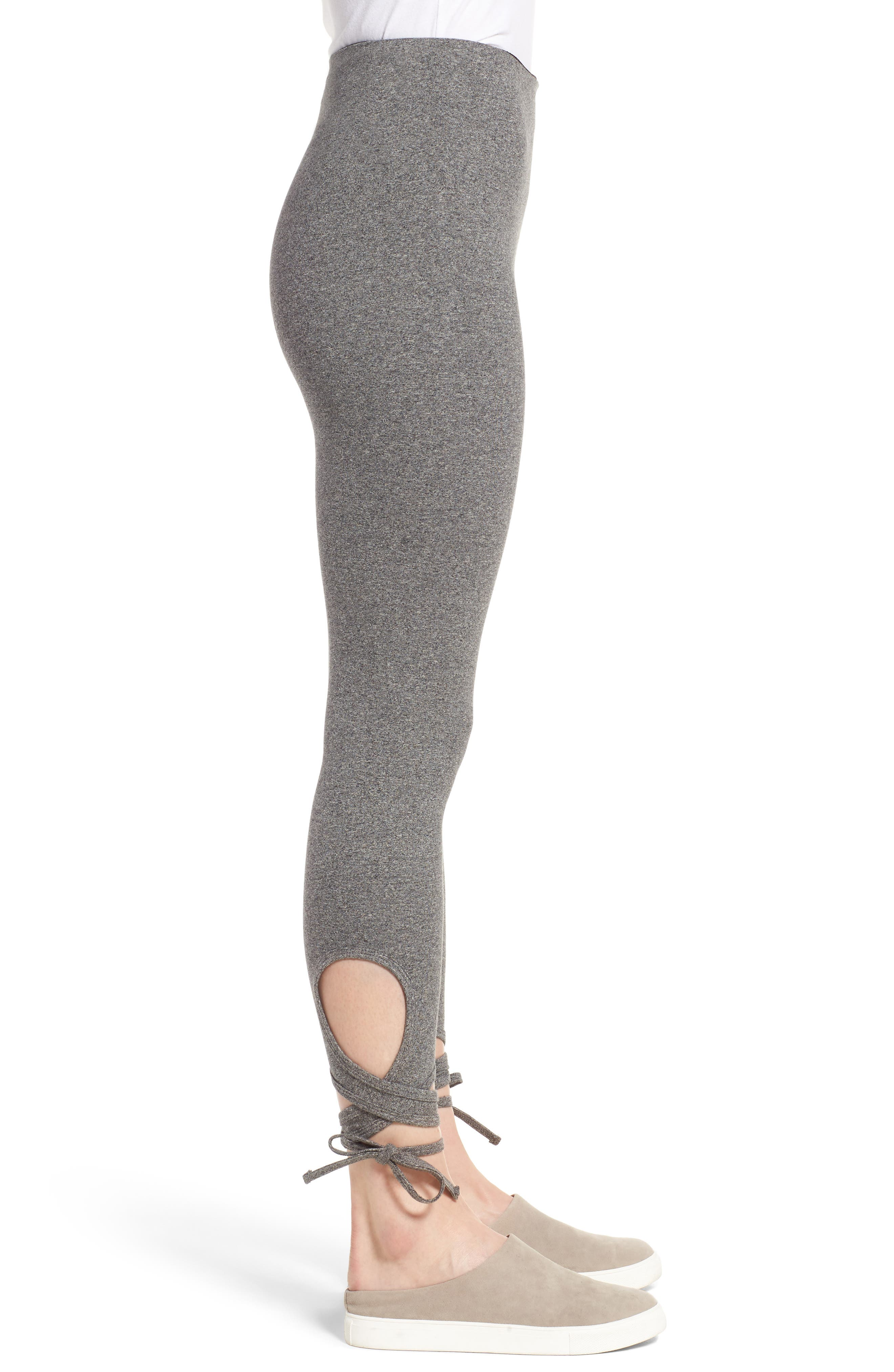 High Rise Wrap Ankle Leggings,                             Alternate thumbnail 3, color,                             065