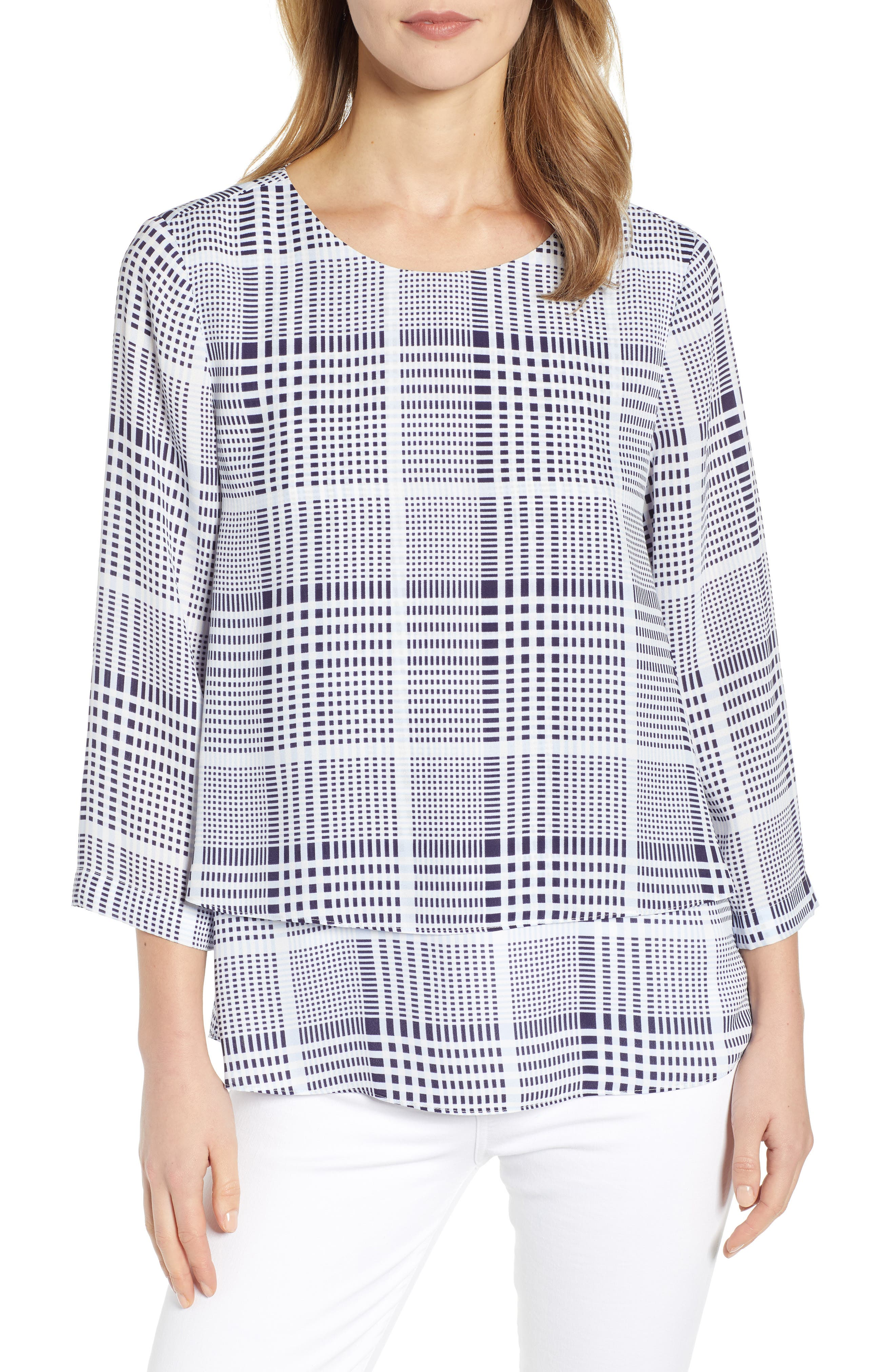 CHAUS Double Layer Modern Top, Main, color, ANTIQ. WHI