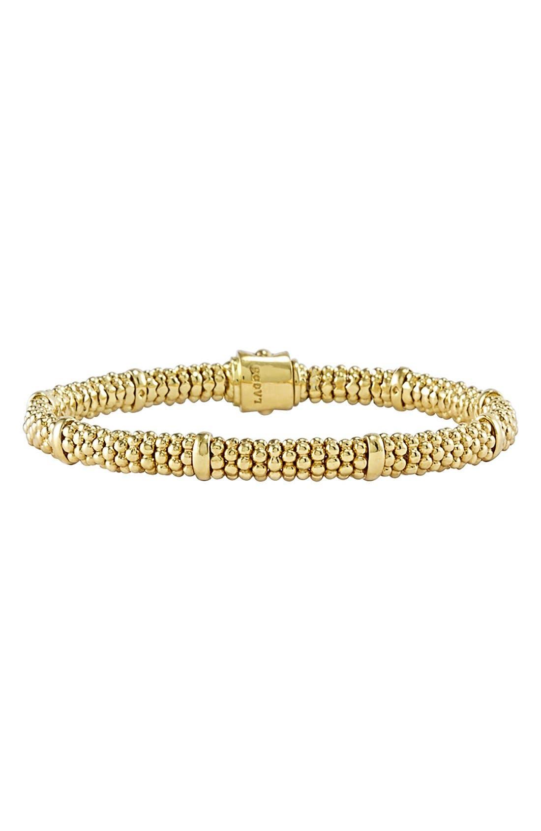 Caviar Rope Bracelet,                             Main thumbnail 1, color,                             GOLD