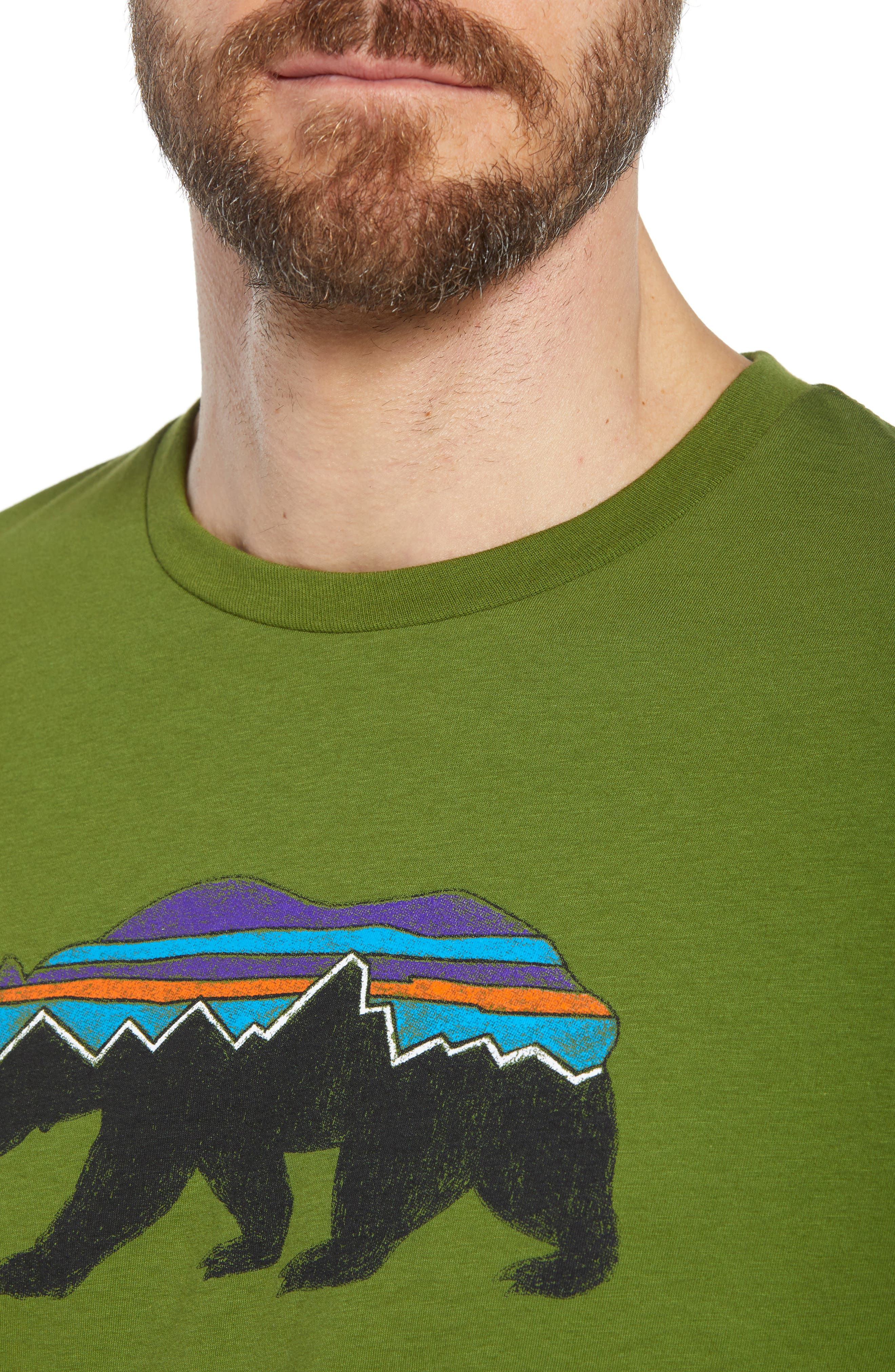 Fitz Roy Bear Crewneck T-Shirt,                             Alternate thumbnail 4, color,                             SPROUTED GREEN