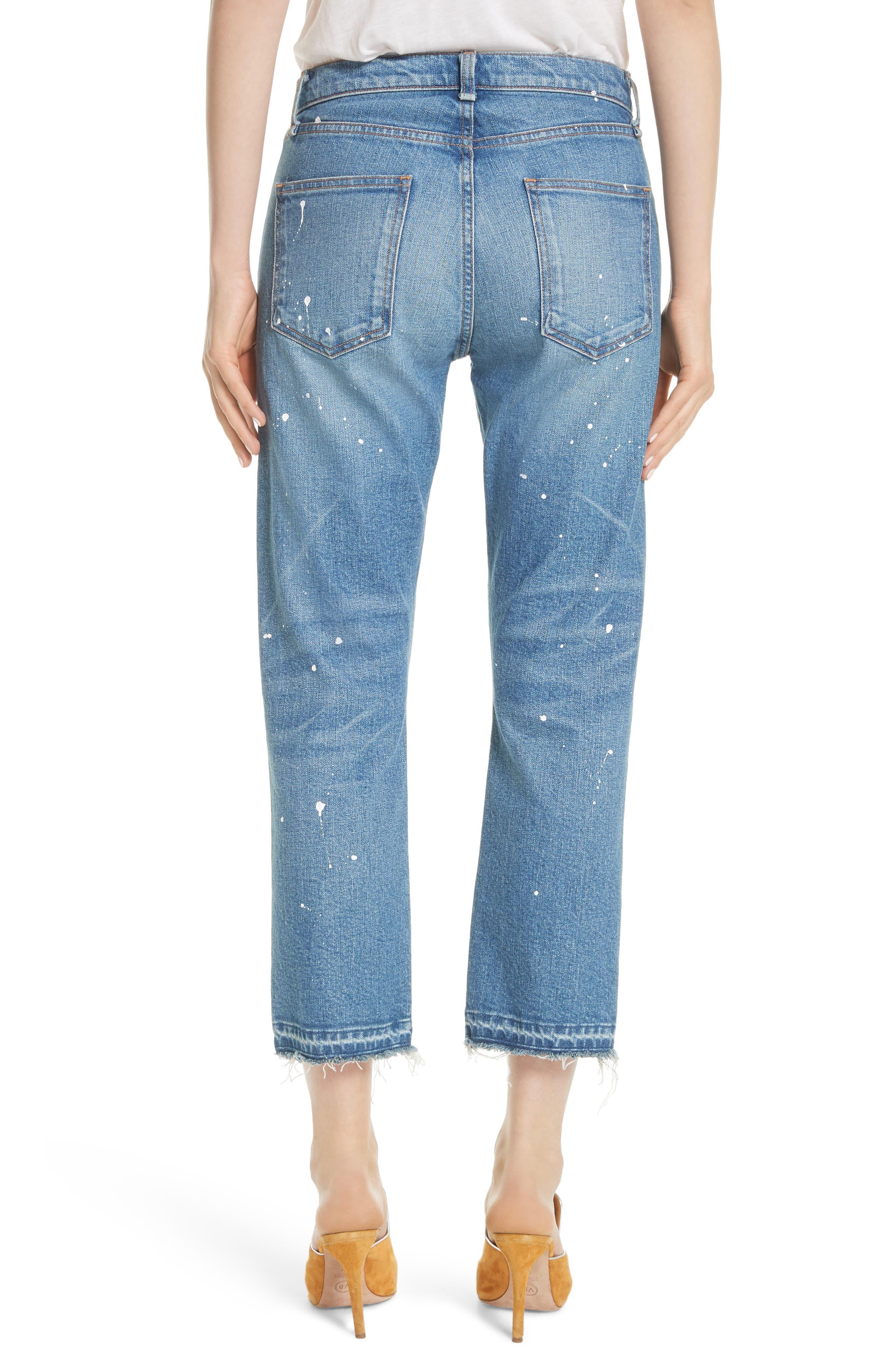 Ines Paint Splatter Crop Girlfriend Jeans,                             Alternate thumbnail 2, color,                             PIPELINE