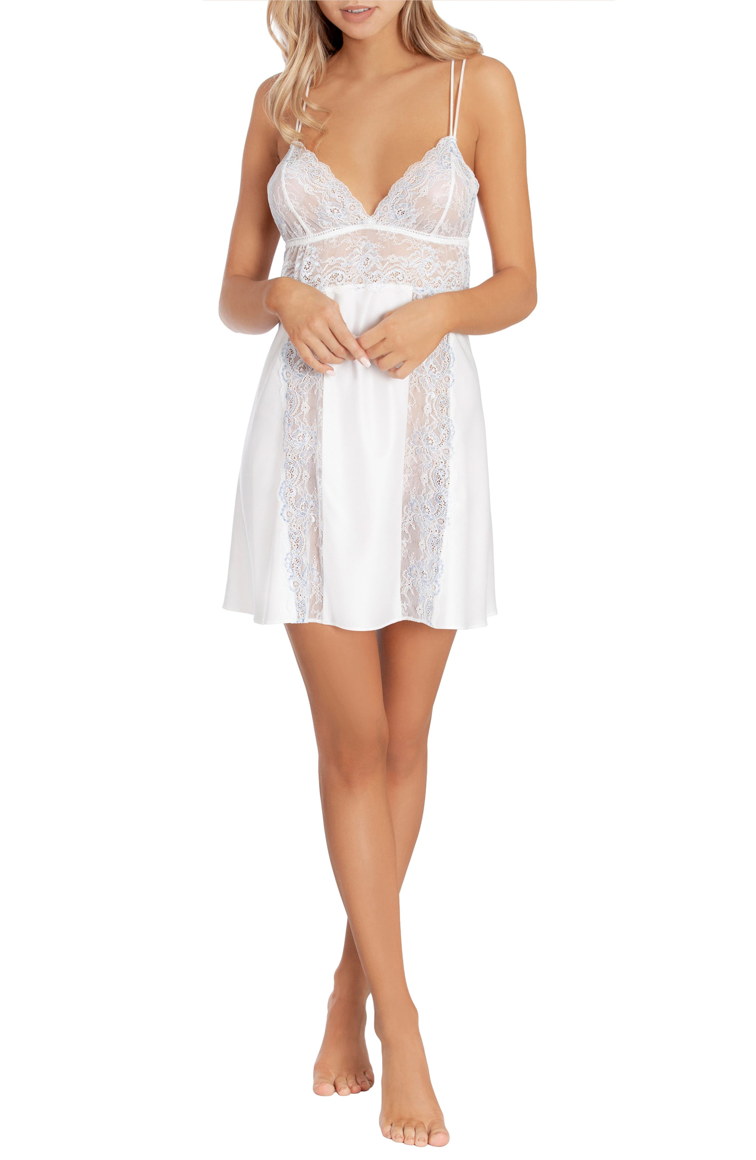 IN BLOOM BY JONQUIL,                             Lace & Satin Chemise,                             Alternate thumbnail 5, color,                             OFF-WHITE