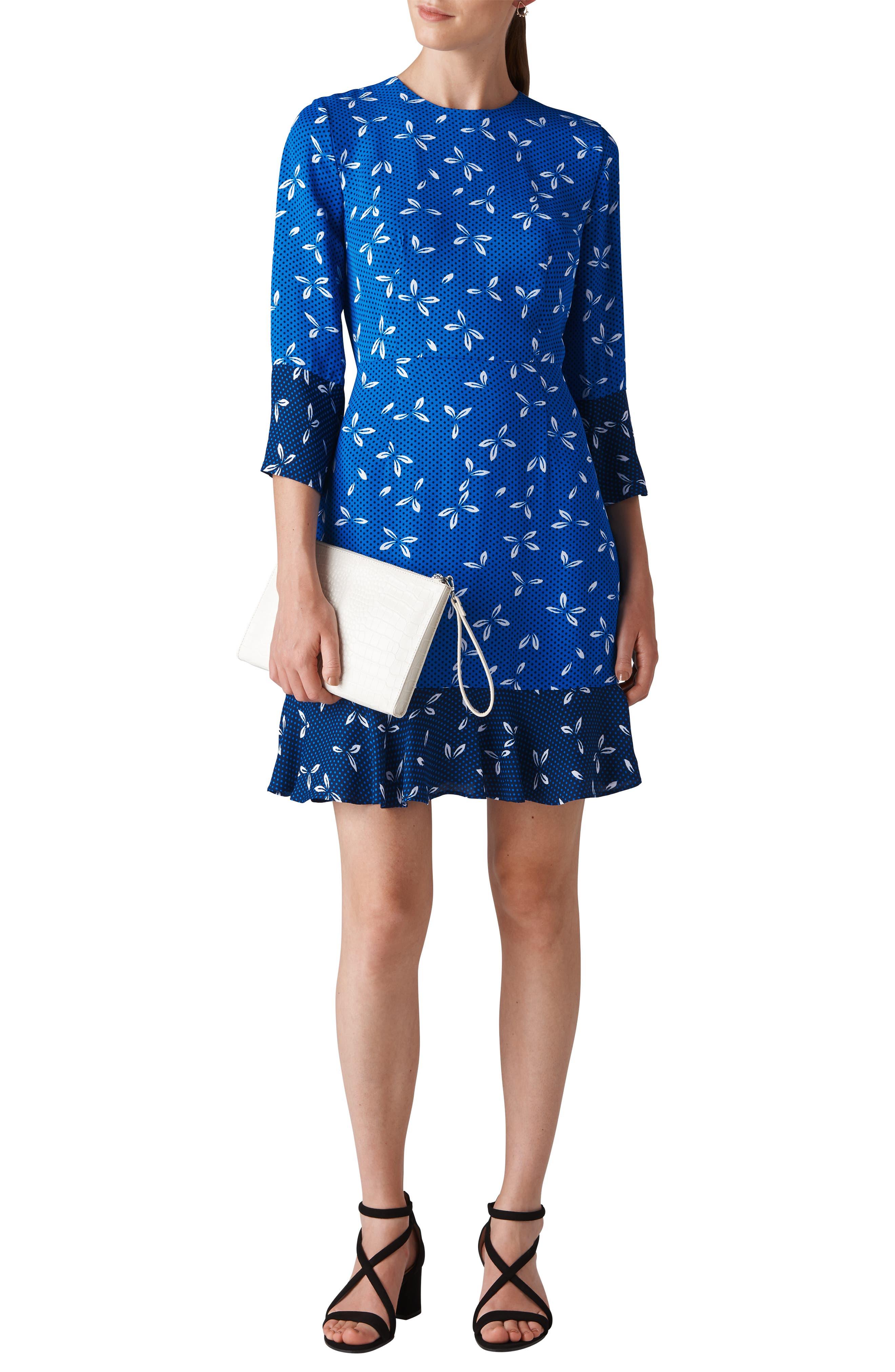 Polly Spot Print Dress,                             Main thumbnail 1, color,                             BLUE/ MULTI