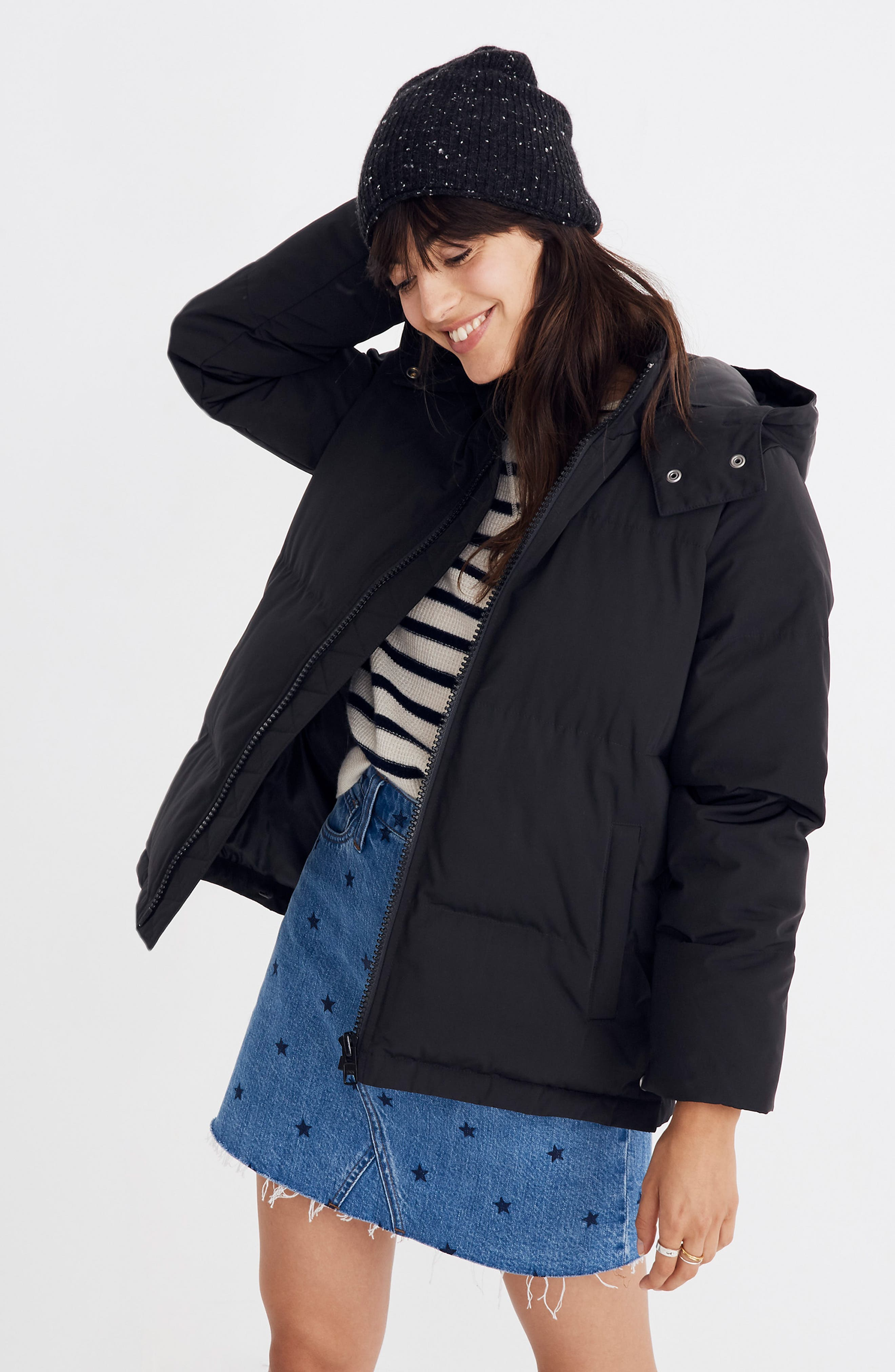 Quilted Puffer Parka,                             Alternate thumbnail 6, color,                             TRUE BLACK