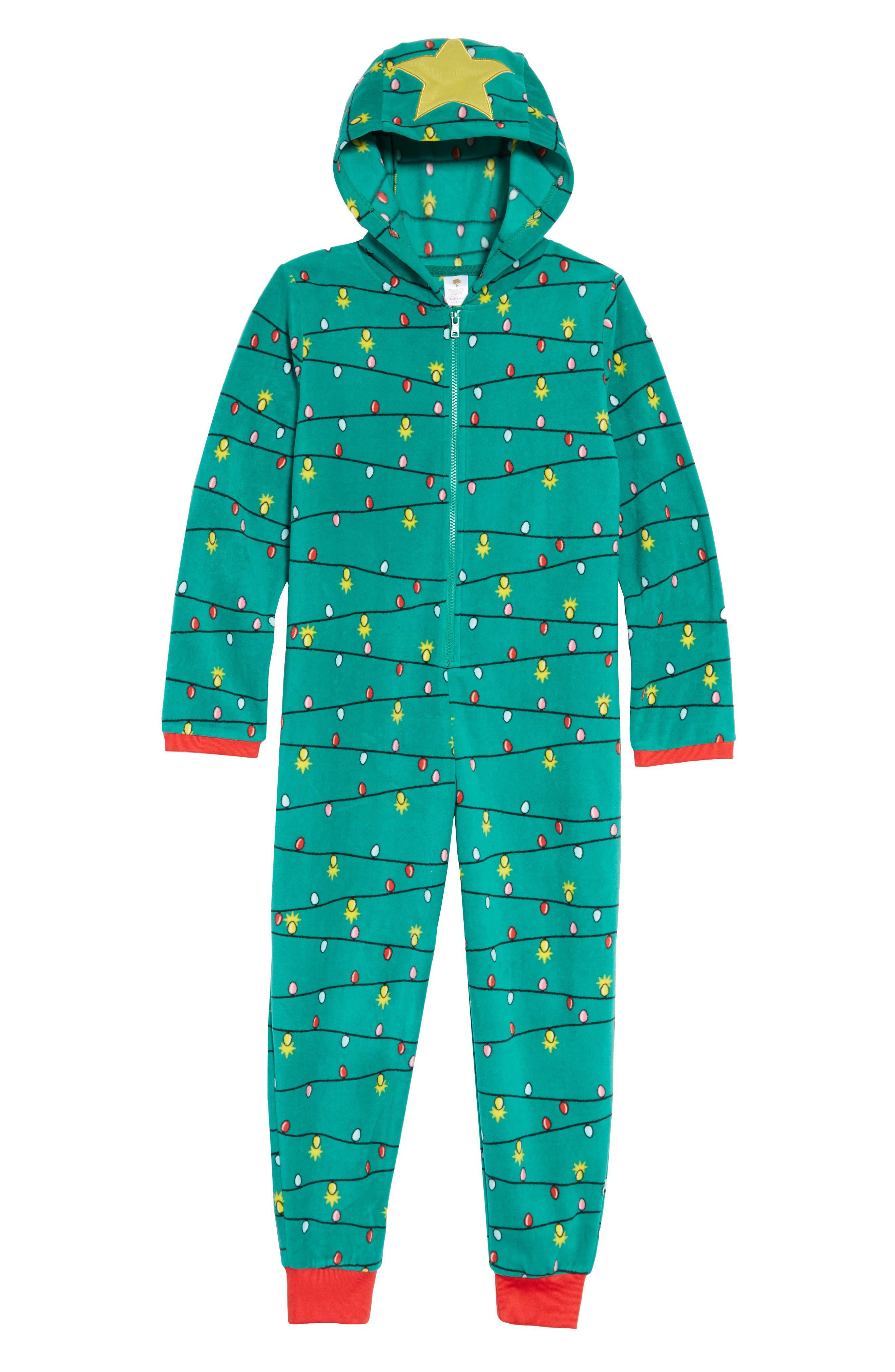 One Piece Fleece Bodysuit,                         Main,                         color, GREEN GENIUS CHRISTMAS TREE
