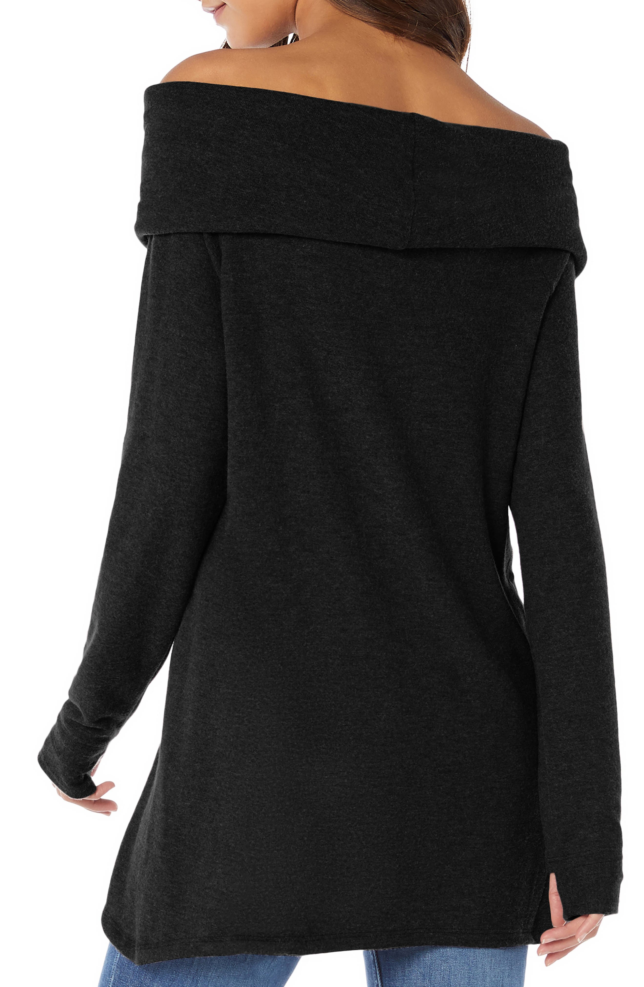 Madison Brushed Convertible Swing Tunic Top,                             Alternate thumbnail 2, color,                             BLACK