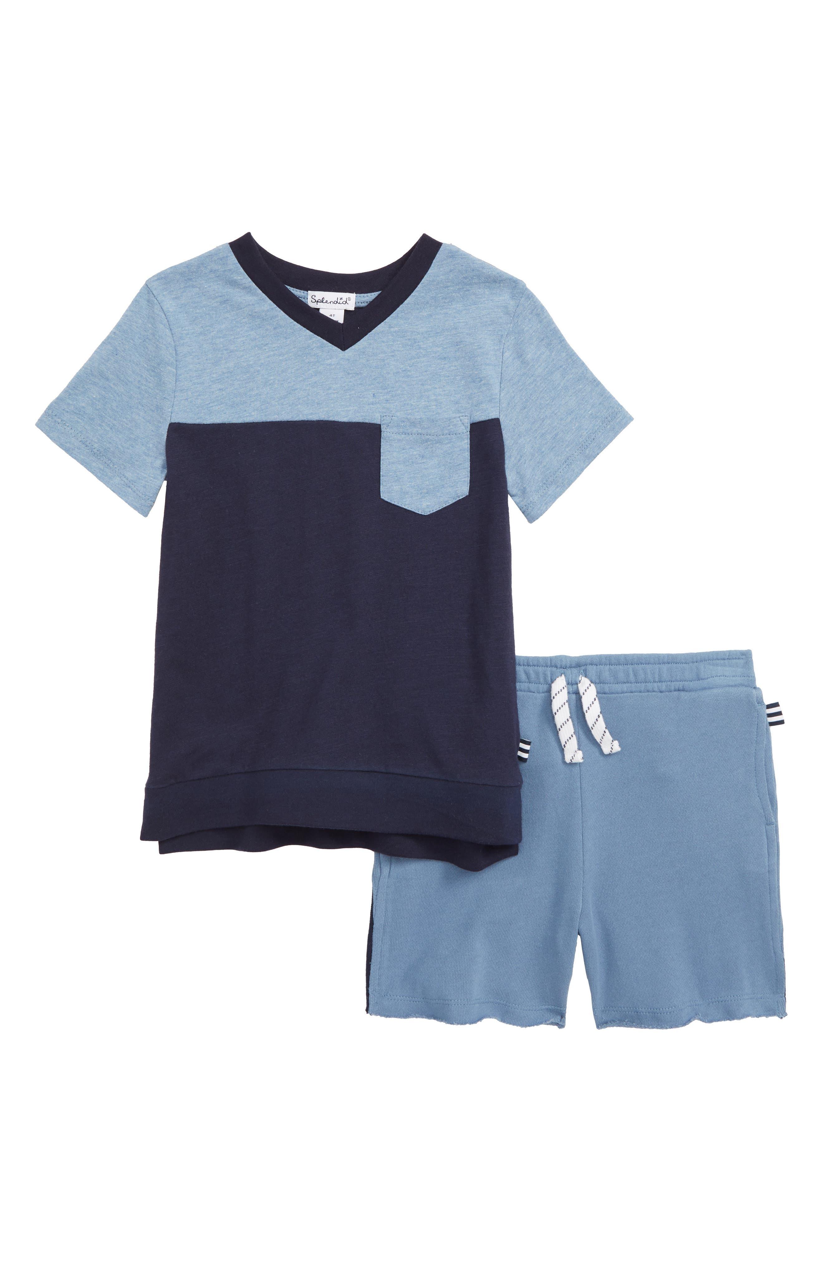Boys Splendid Colorblock TShirt  Racing Stripe Shorts Set