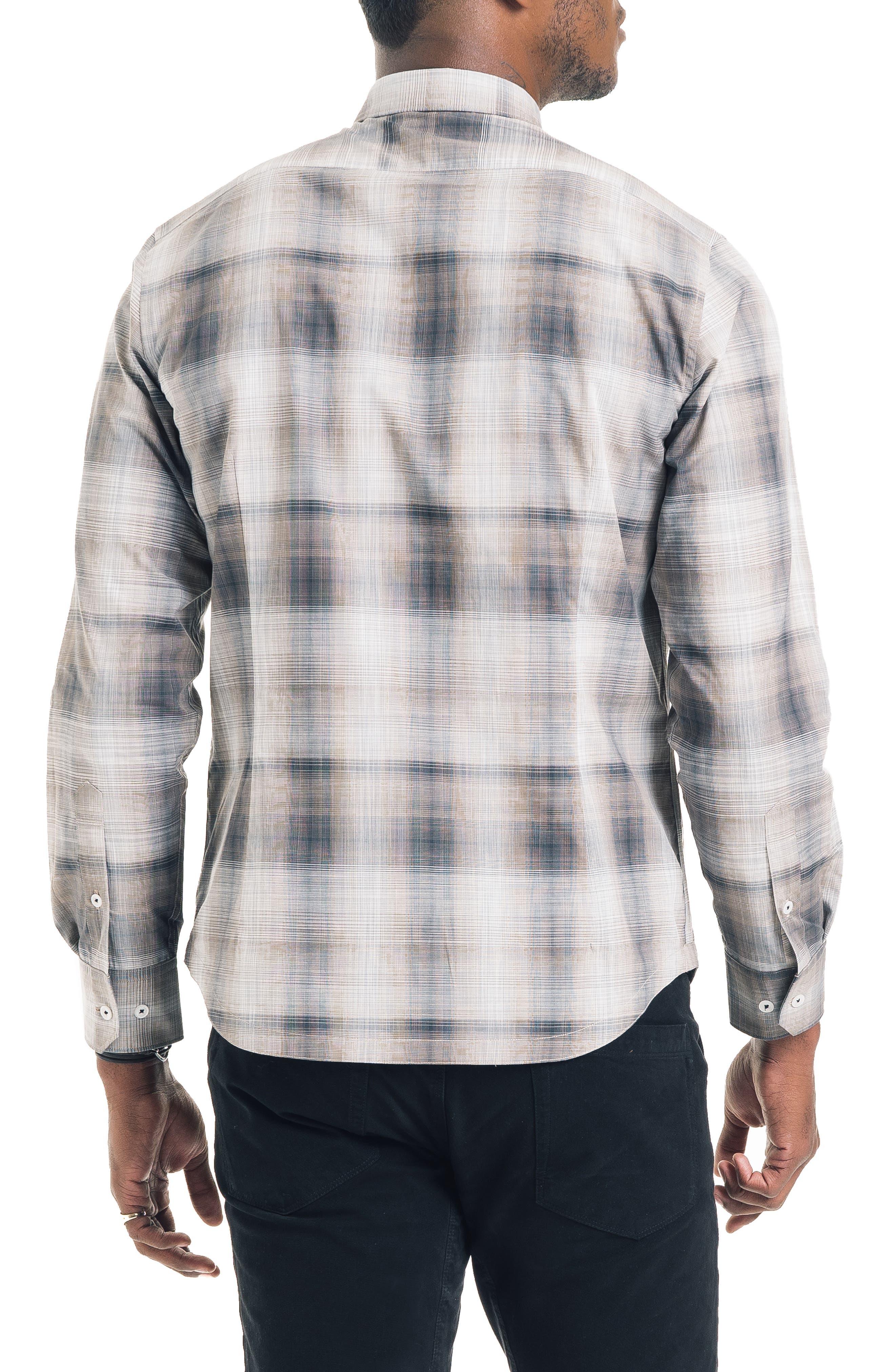 Hamachi Slim Fit Plaid Sport Shirt,                             Alternate thumbnail 2, color,                             DESERT