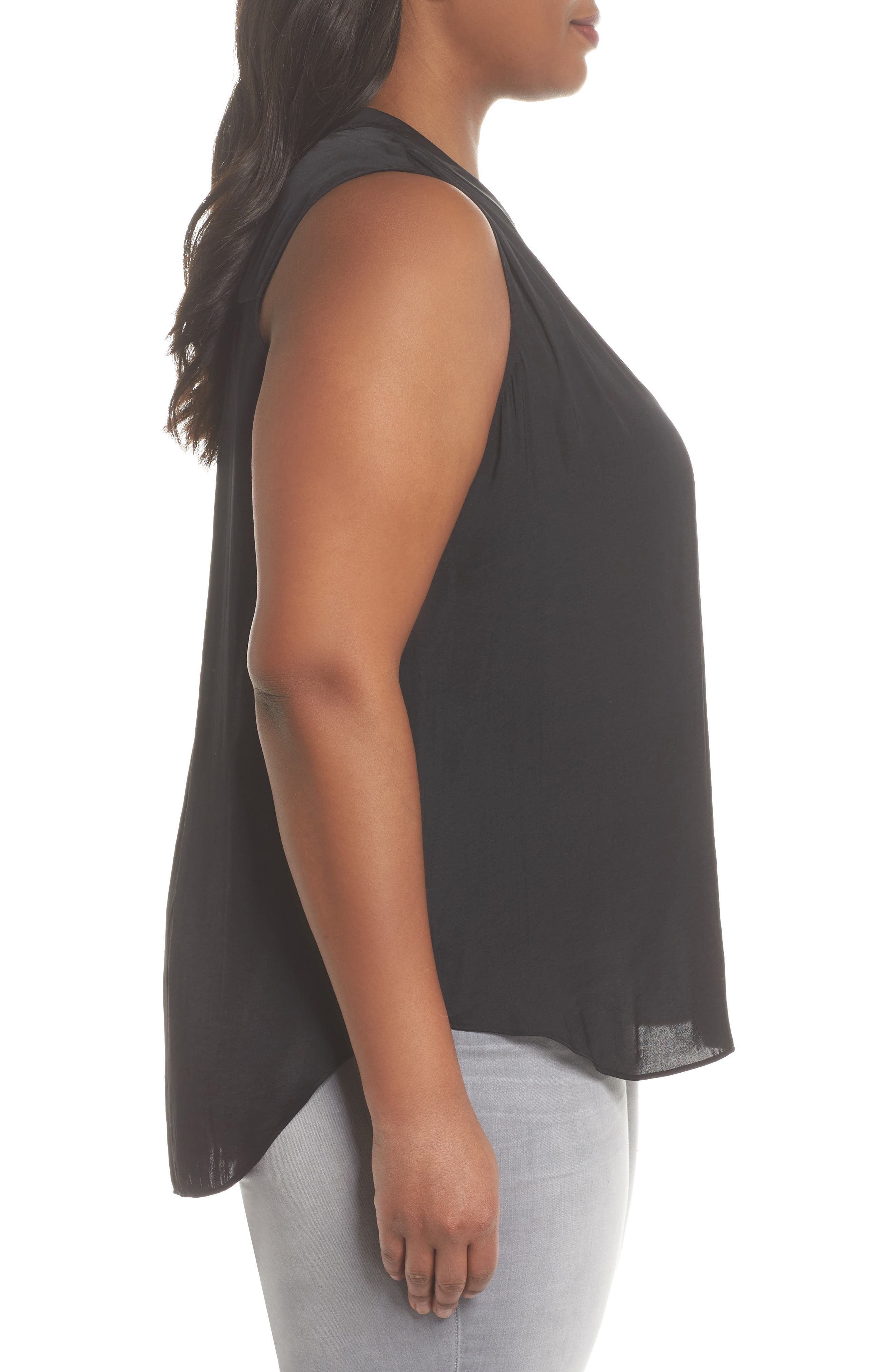 V-Neck Rumple Blouse,                             Alternate thumbnail 3, color,                             RICH BLACK