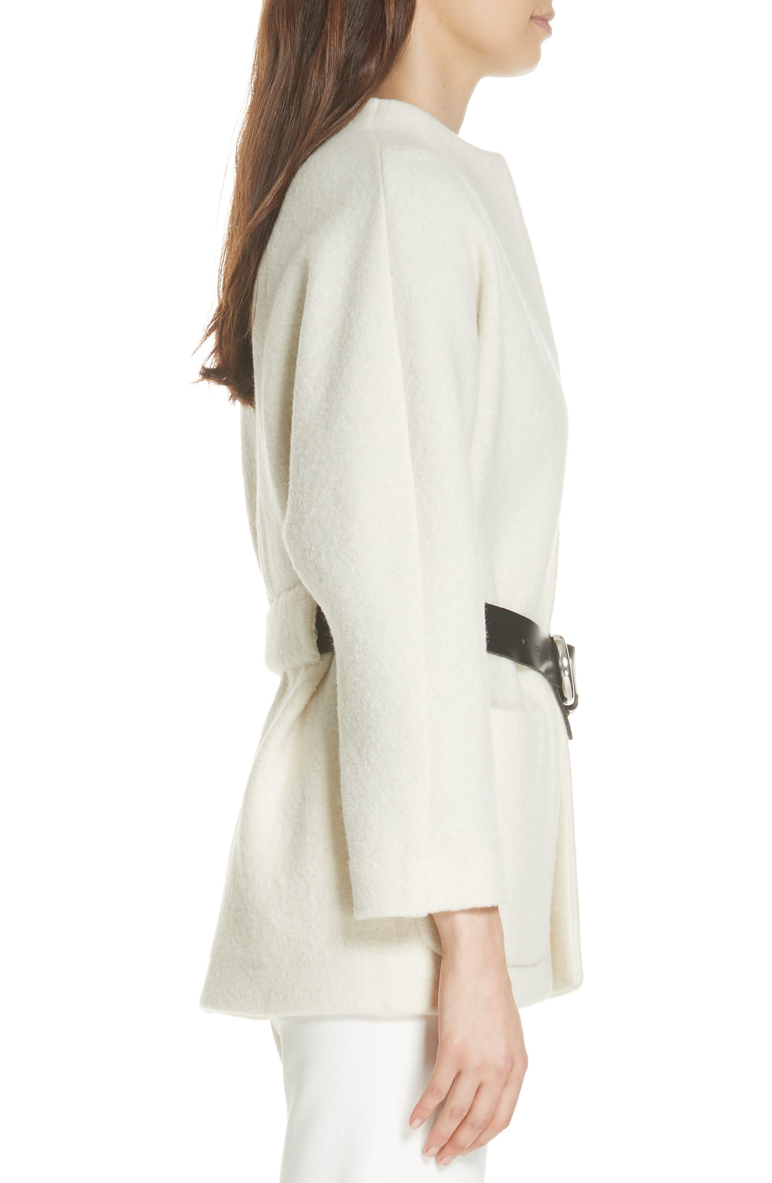 Clif Belted Wool Coat,                             Alternate thumbnail 3, color,                             ECRU