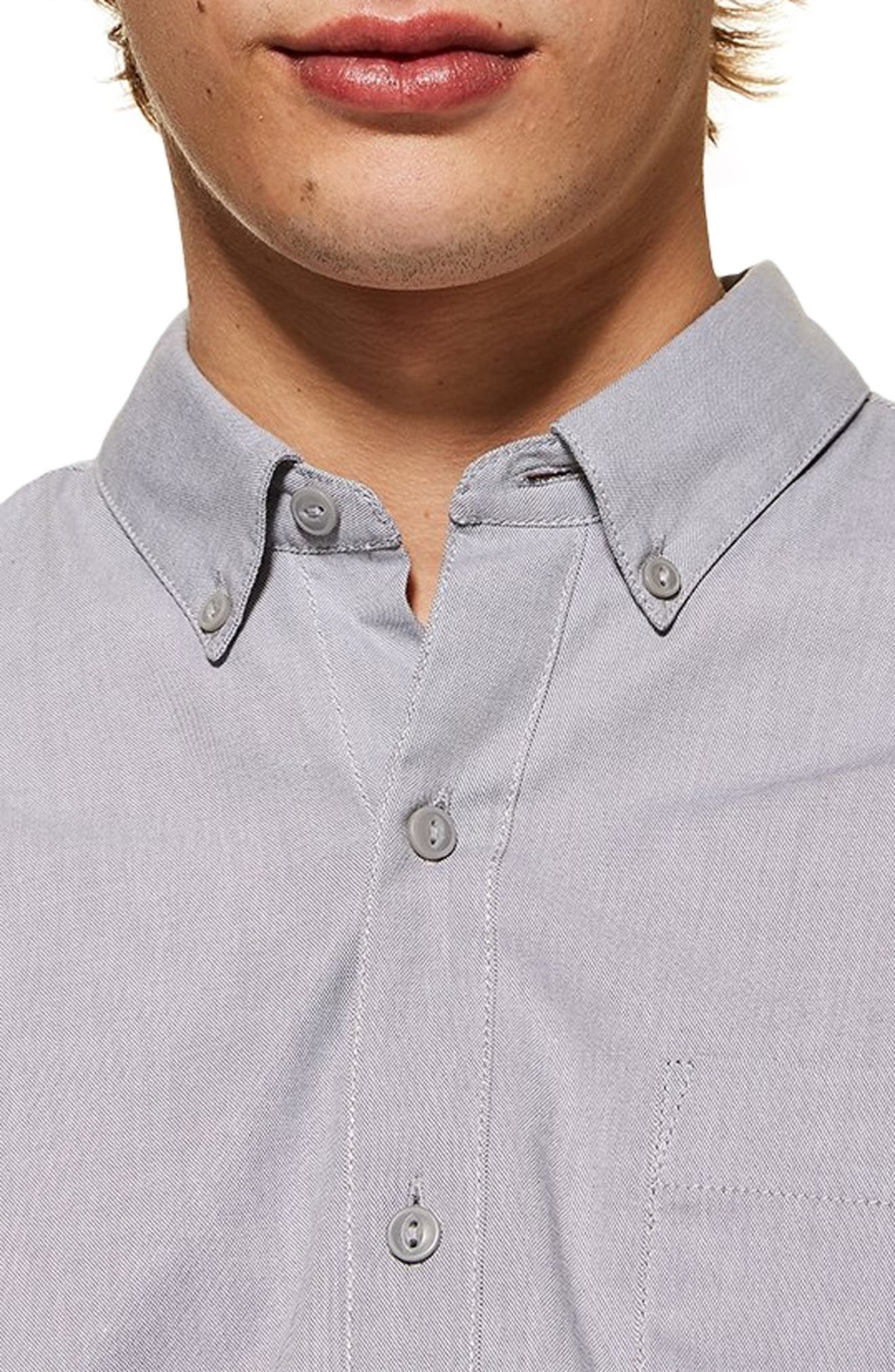 TOPMAN,                             Muscle Fit Oxford Shirt,                             Alternate thumbnail 2, color,                             GREY