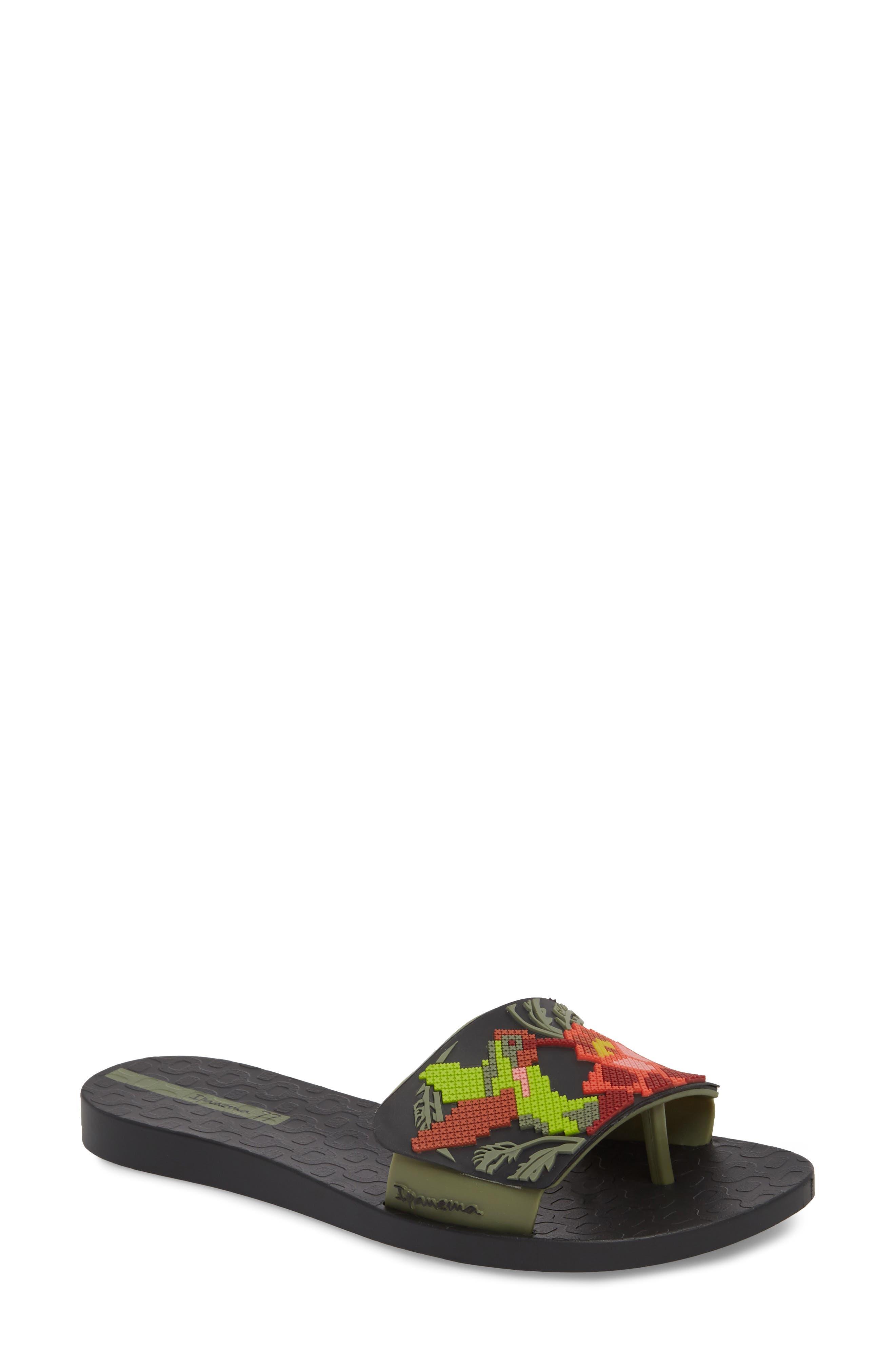 Nectar Floral Slide Sandal,                             Main thumbnail 1, color,                             BLACK/ GREEN
