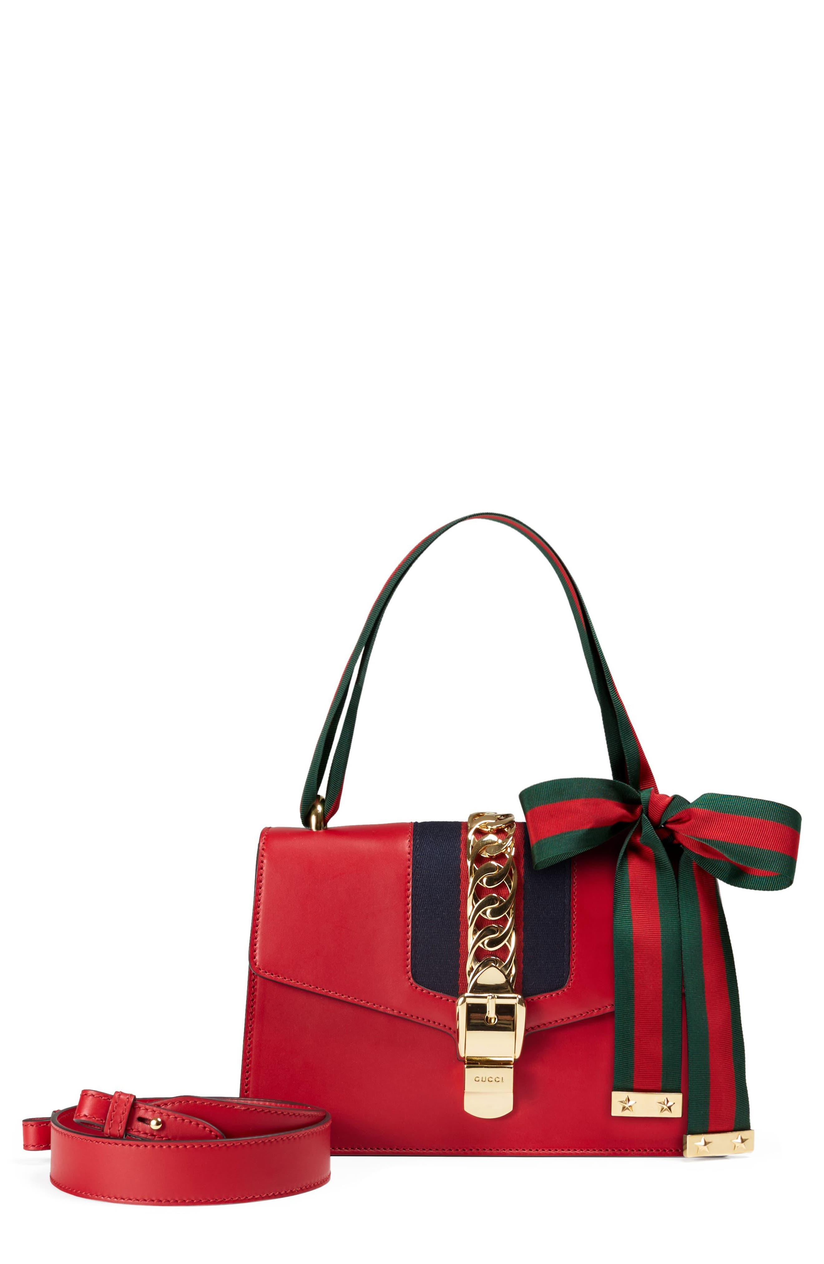 Small Sylvie Leather Shoulder Bag,                             Main thumbnail 1, color,                             HIBISCUS RED/ BLUE/ RED