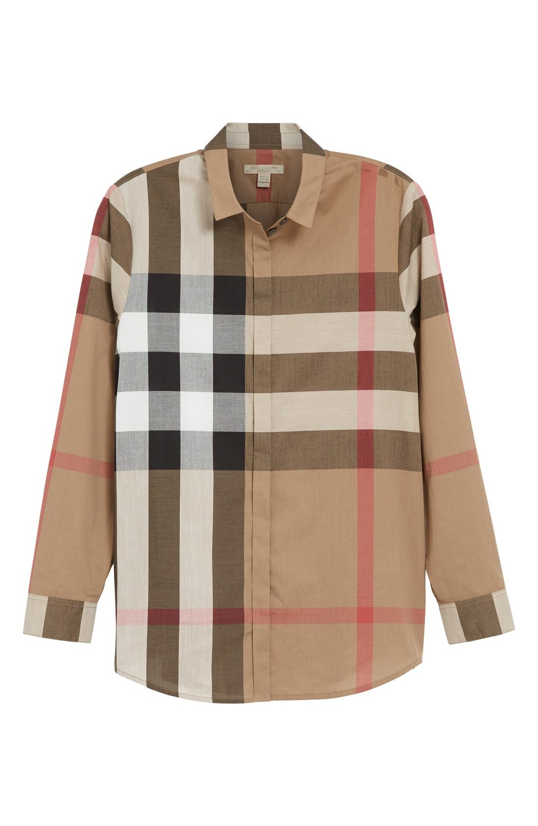 Check Pattern Cotton Shirt,                             Alternate thumbnail 2, color,                             TAUPE BROWN
