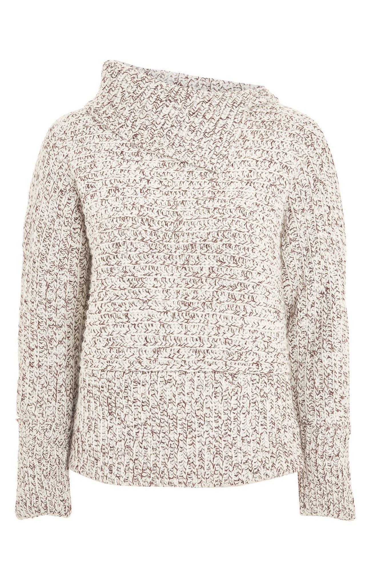Tweedy Envelope Neck Sweater,                             Alternate thumbnail 3, color,                             600