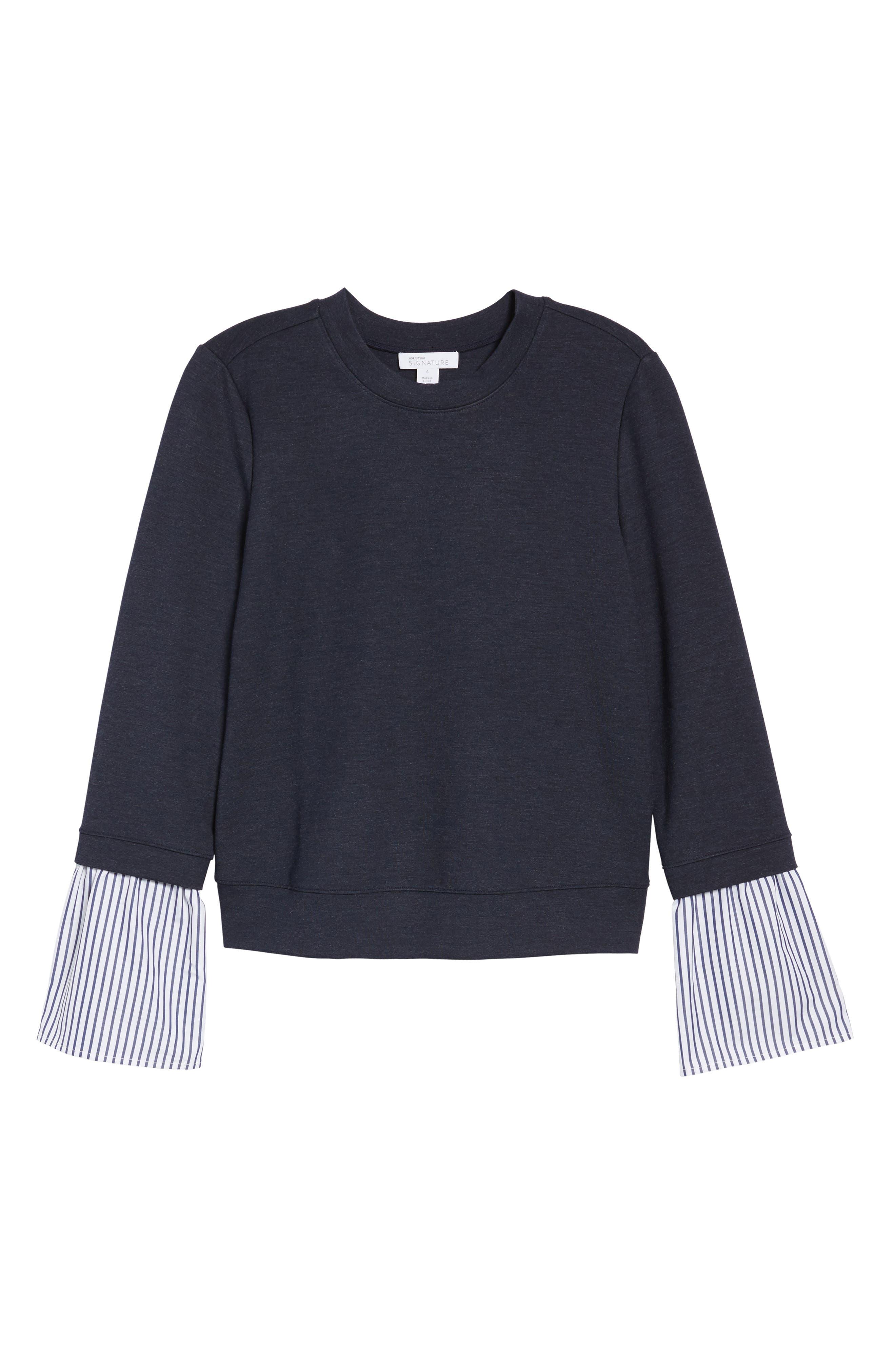 Poplin & Lace Crewneck Sweatshirt,                             Alternate thumbnail 6, color,                             410