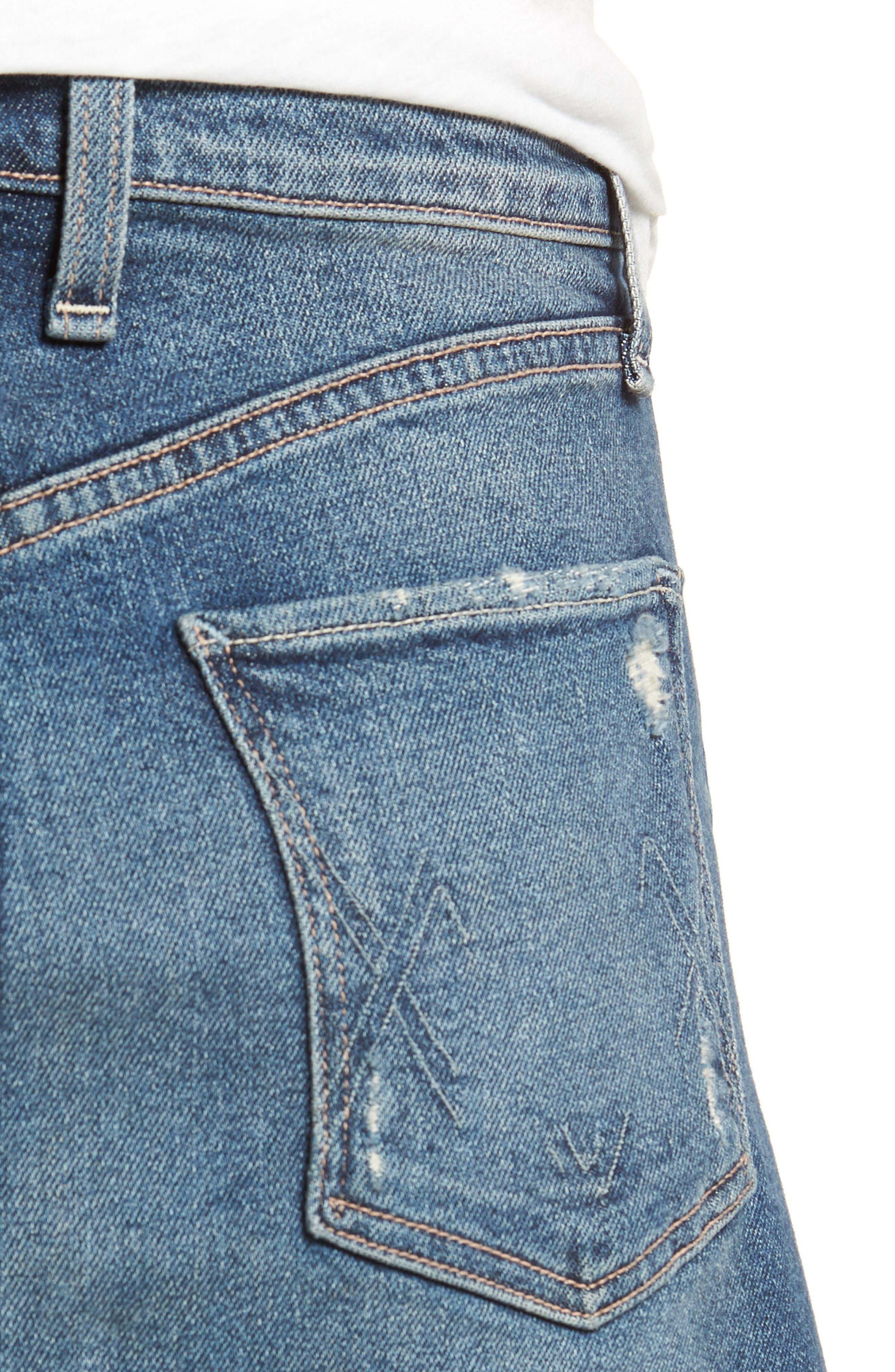 Izabel Angled Hem Denim Skirt,                             Alternate thumbnail 4, color,                             420