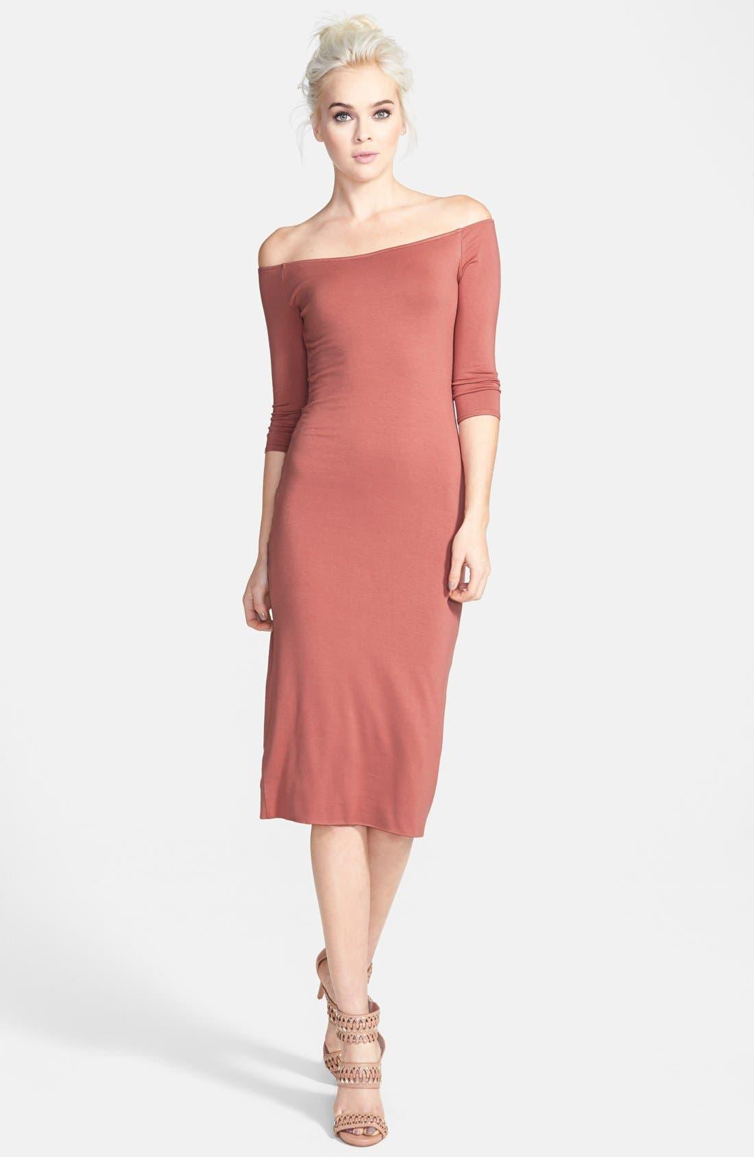 Off the Shoulder Midi Dress,                             Main thumbnail 2, color,