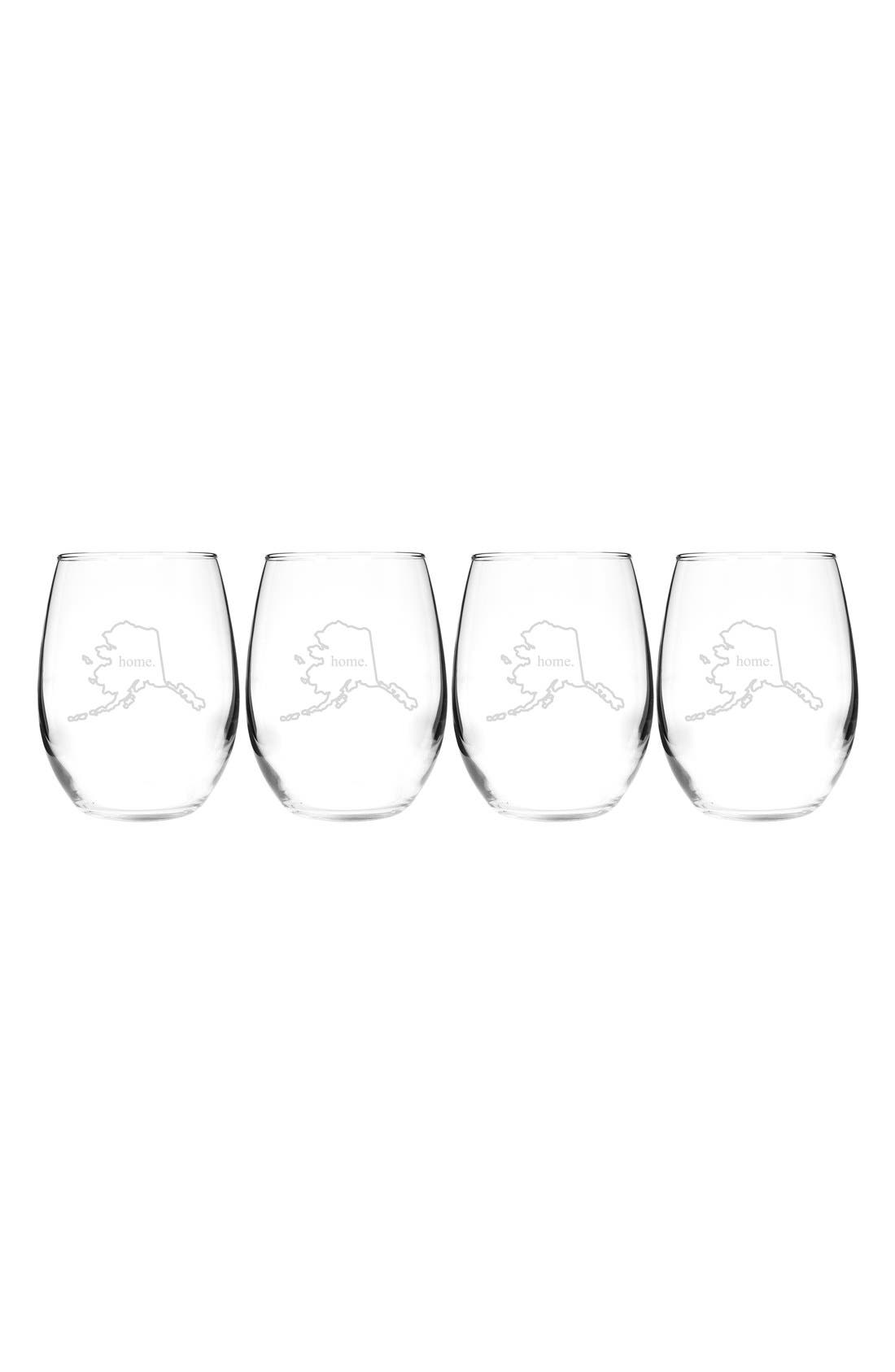 Home State Set of 4 Stemless Wine Glasses,                             Main thumbnail 2, color,