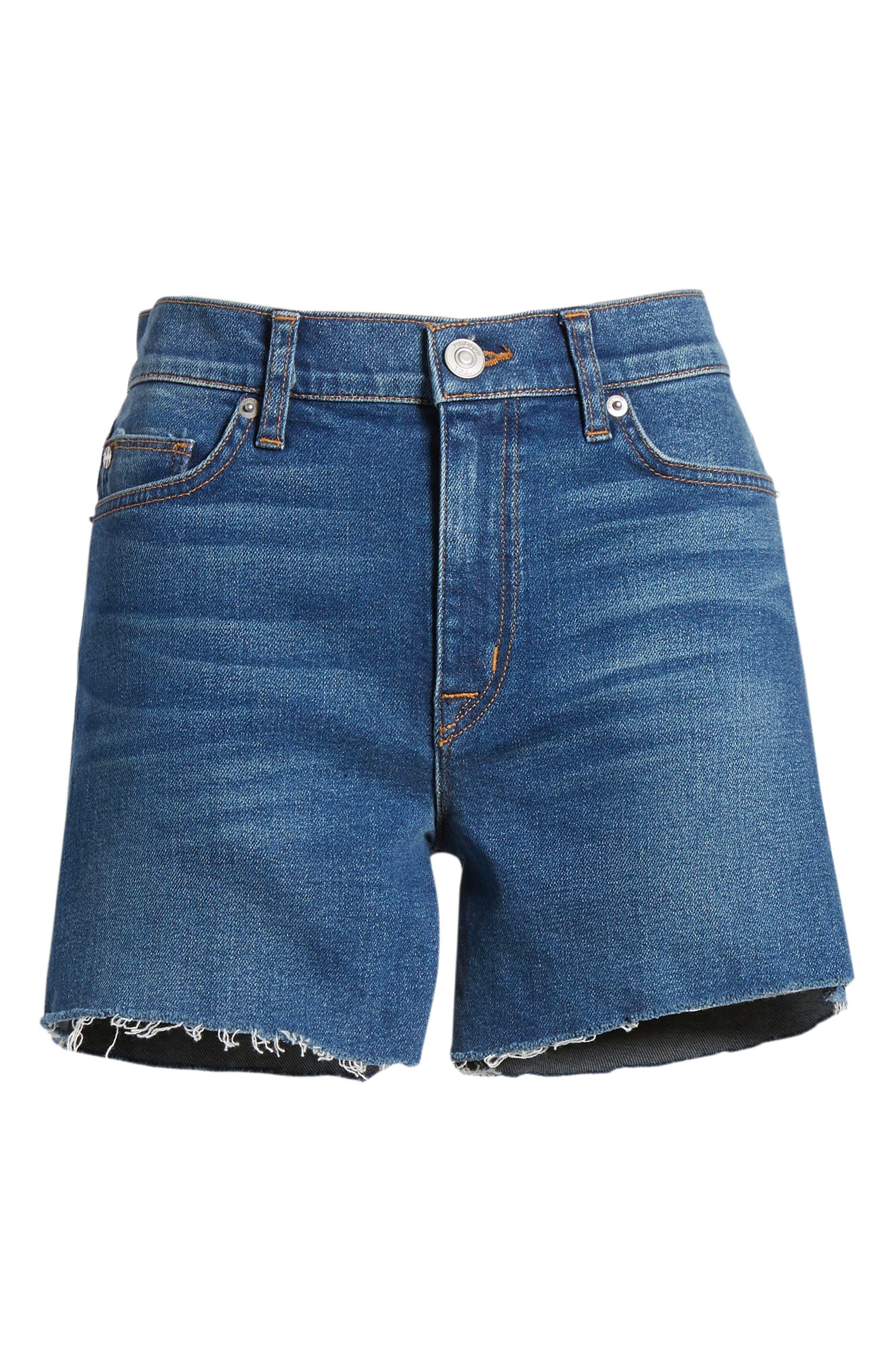 Valeri Cutoff Denim Shorts,                             Alternate thumbnail 7, color,                             421